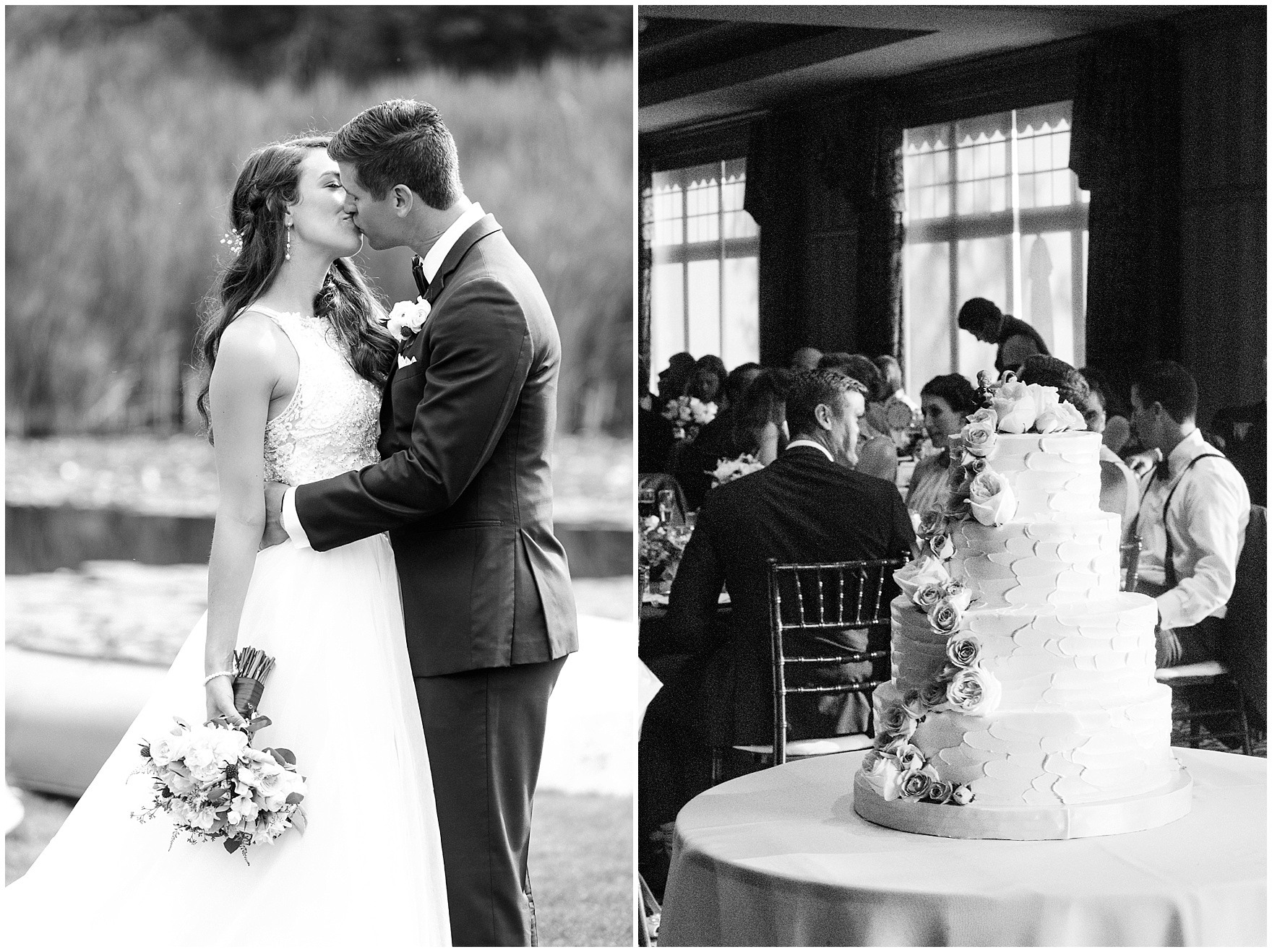 The bride and groom kiss during their Biltmore Country Club Barrington wedding.