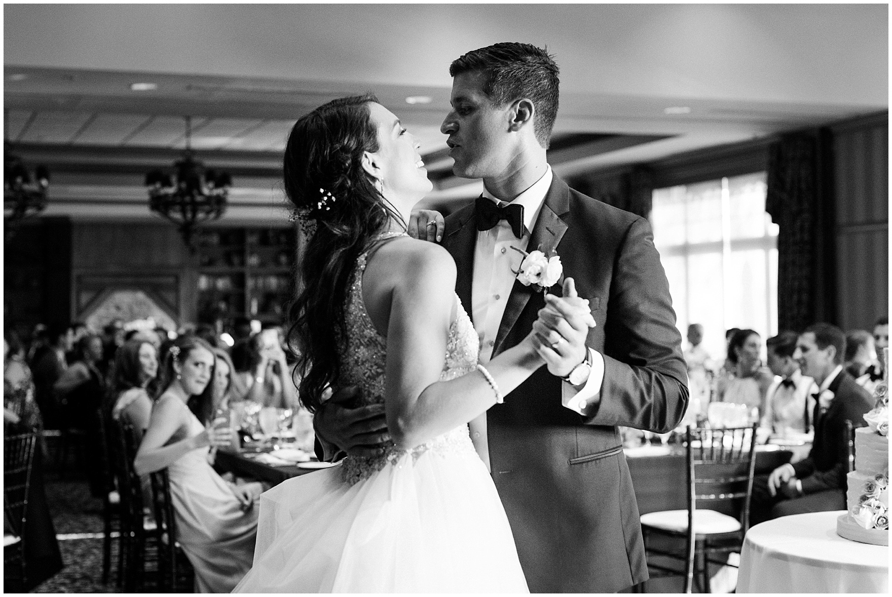 The bride and groom share their first dance during a Biltmore Country Club Barrington wedding.
