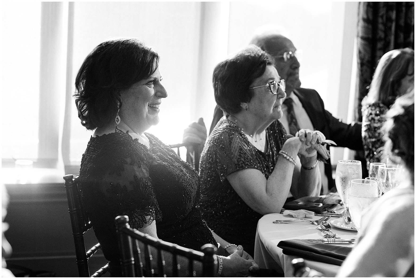 Guests listen to speeches during a Biltmore Country Club Barrington wedding.