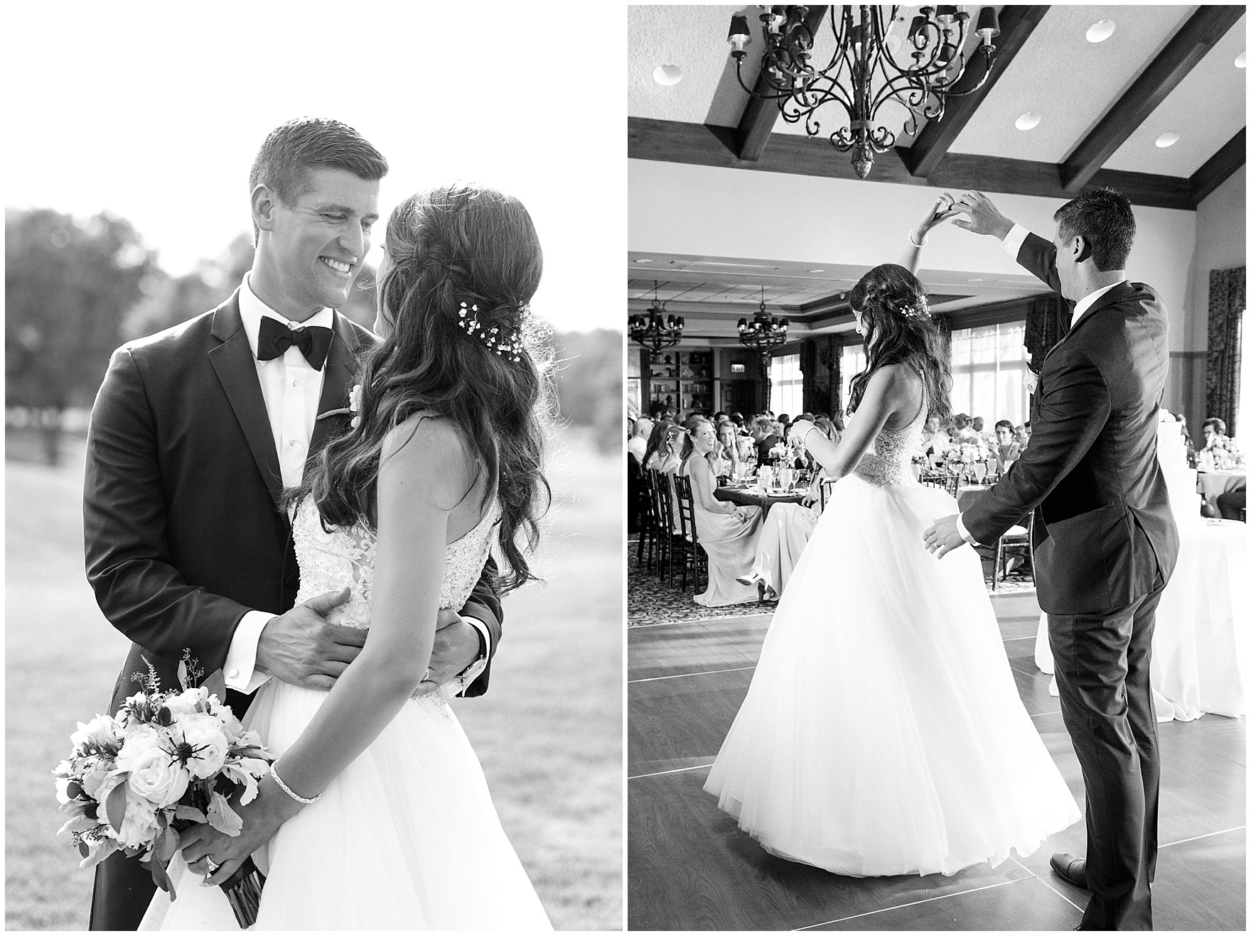 The bride and groom embrace during a Biltmore Country Club Barrington wedding.