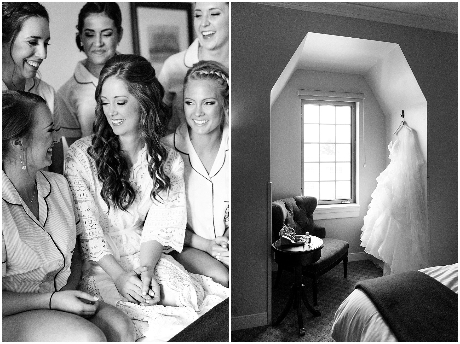 The bride and her bridesmaids get ready at the Morris Inn for a University of Notre Dame Wedding.