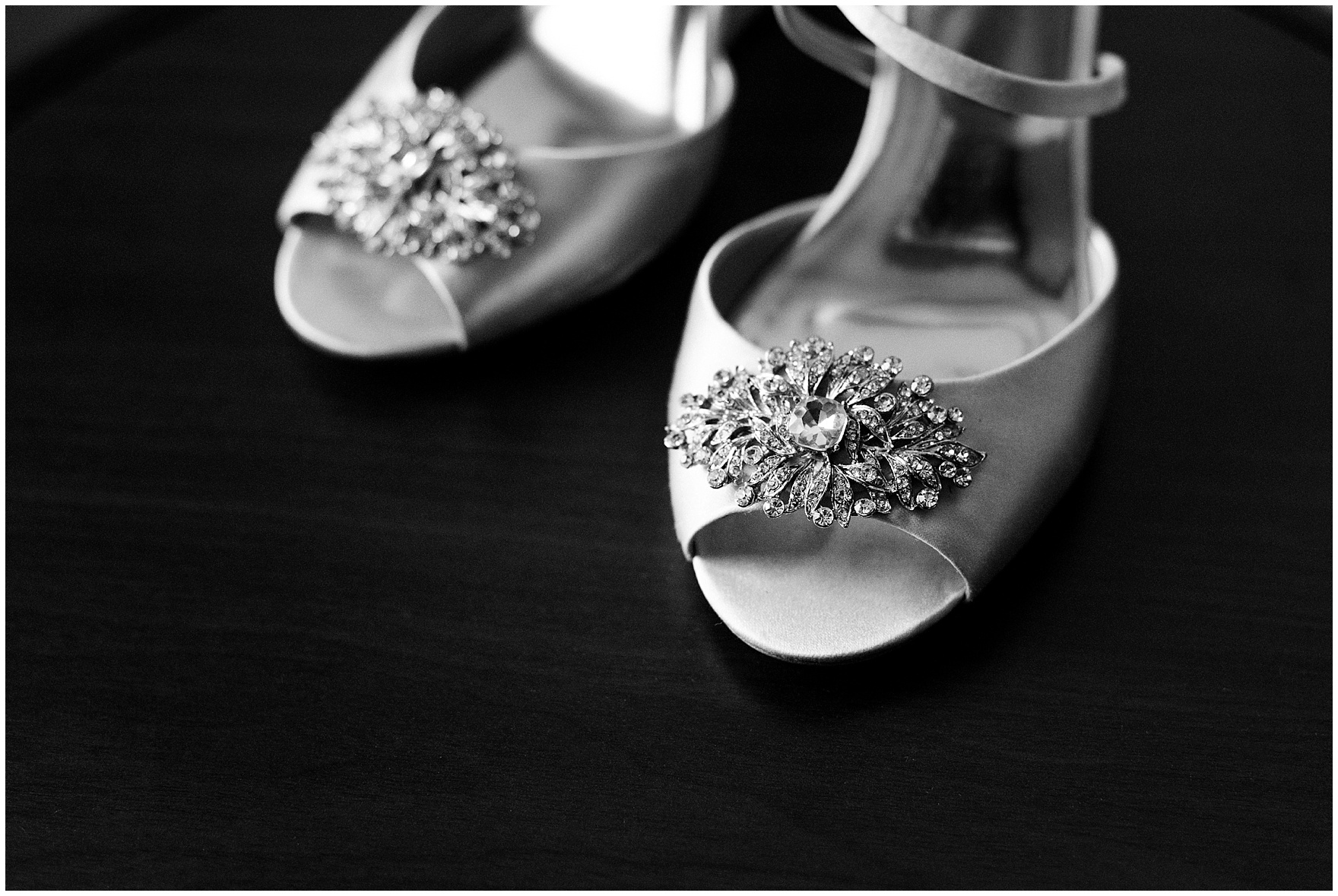 Detail of the bride's shoes for a University of Notre Dame wedding.