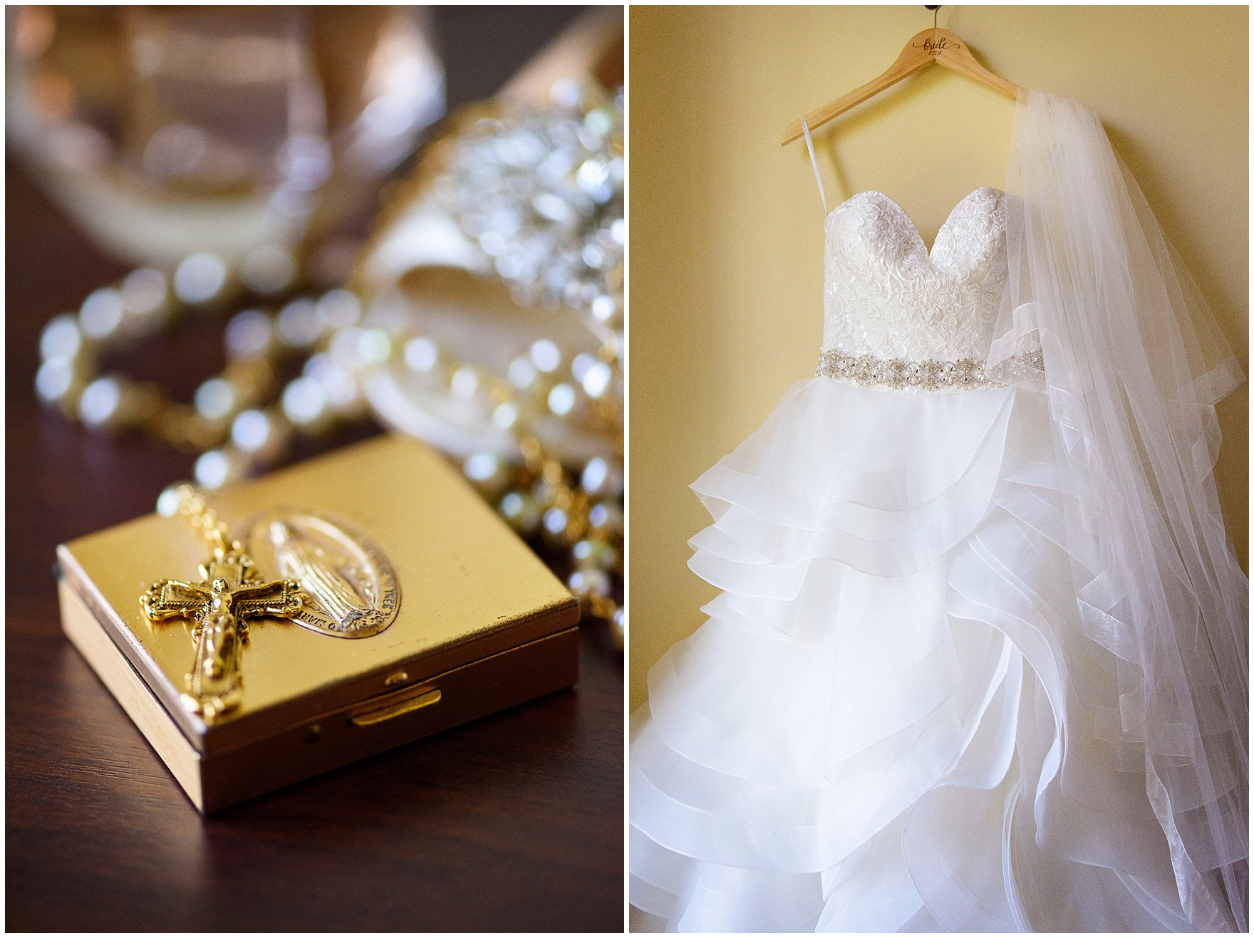 Detail of the bride's dress and rosary for a University of Notre Dame wedding.