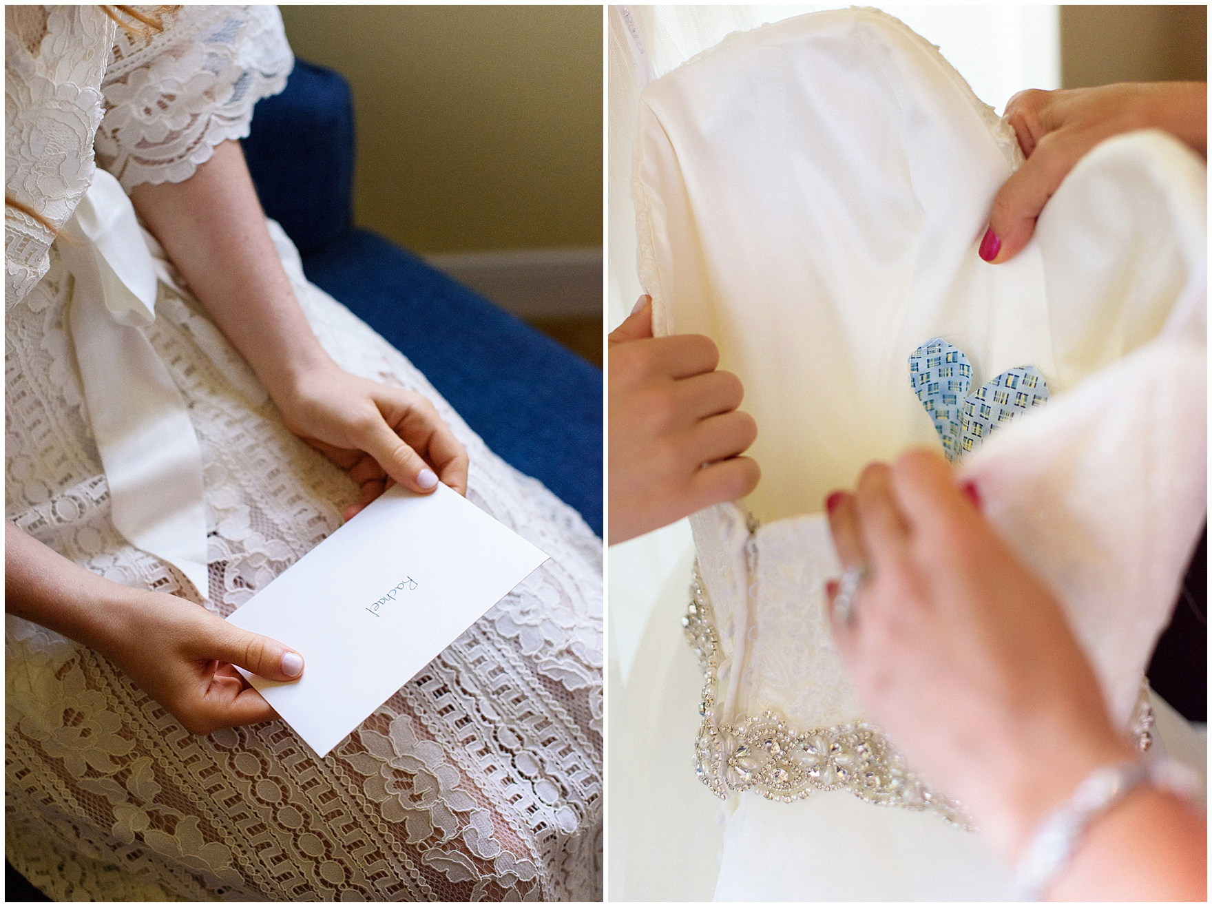 "The bride's ""something blue"" is a heart sewn into the bodice of her dress for a University of Notre Dame wedding."
