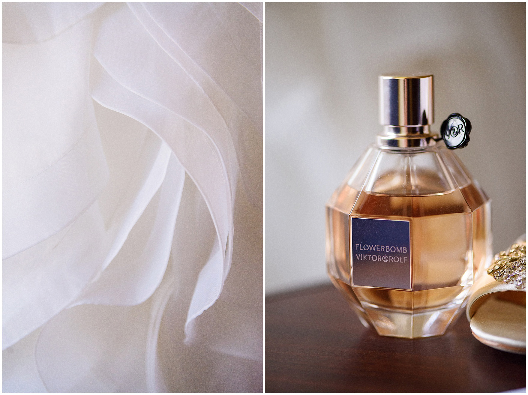 Details of the bride's dress and perfume photographed before a University of Notre Dame wedding.