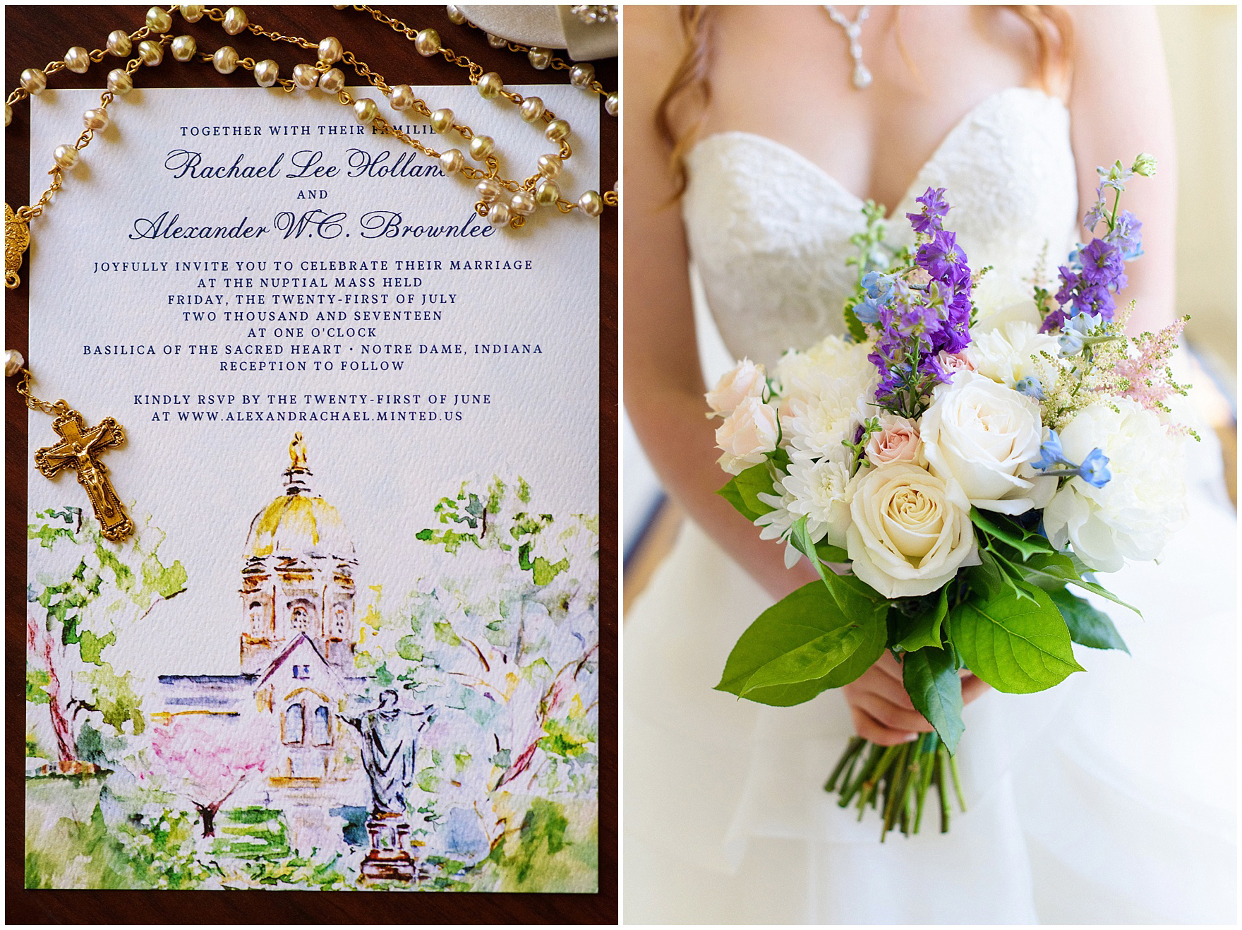 Details of the invitation and bridal bouquet photographed before a University of Notre Dame wedding.