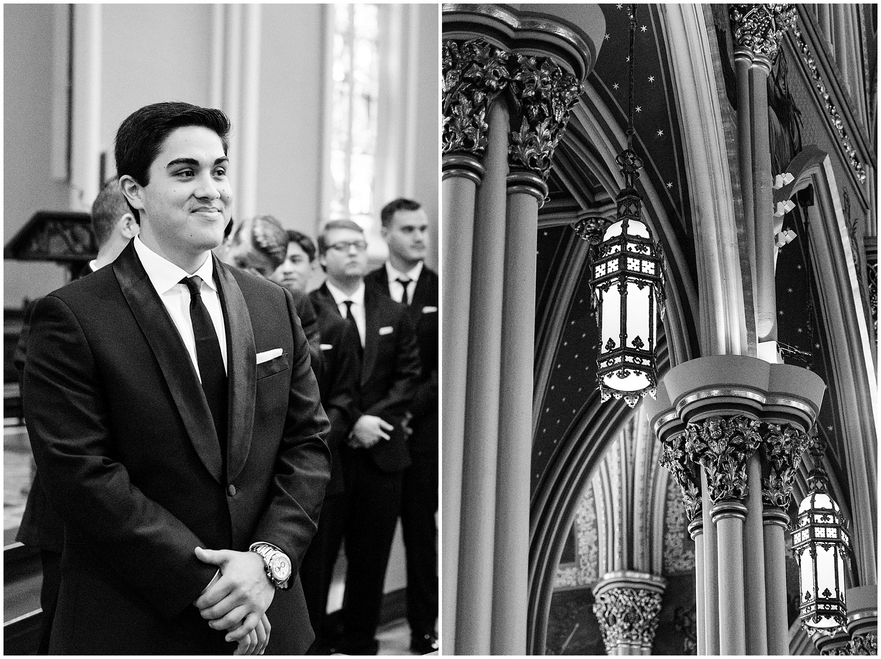 The groom watches his bride walk down the aisle of the Basilica of the Sacred Heart during a University of Notre Dame wedding.