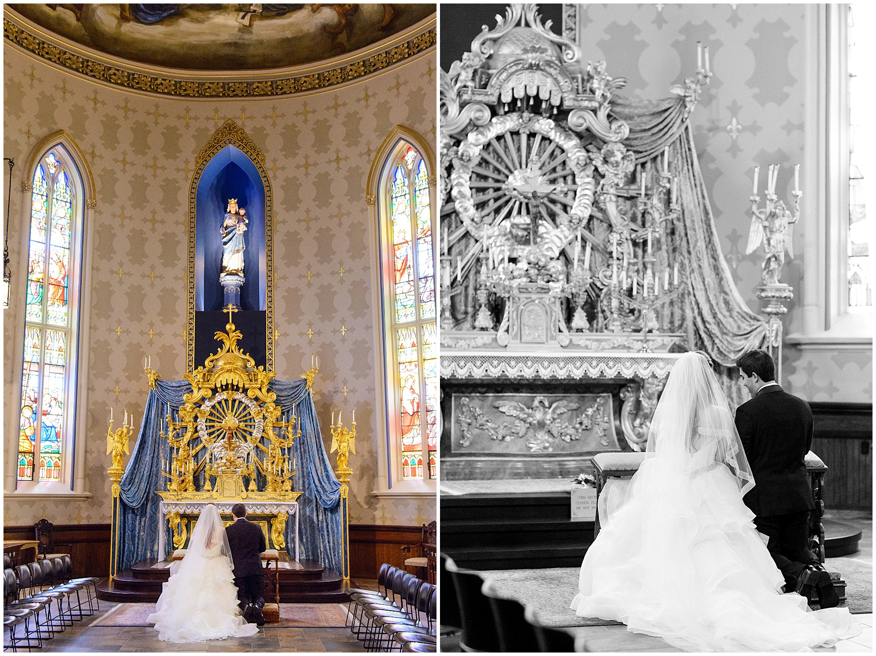 The bride and groom stand together in the Basilica of the Sacred Heart during a University of Notre Dame wedding.