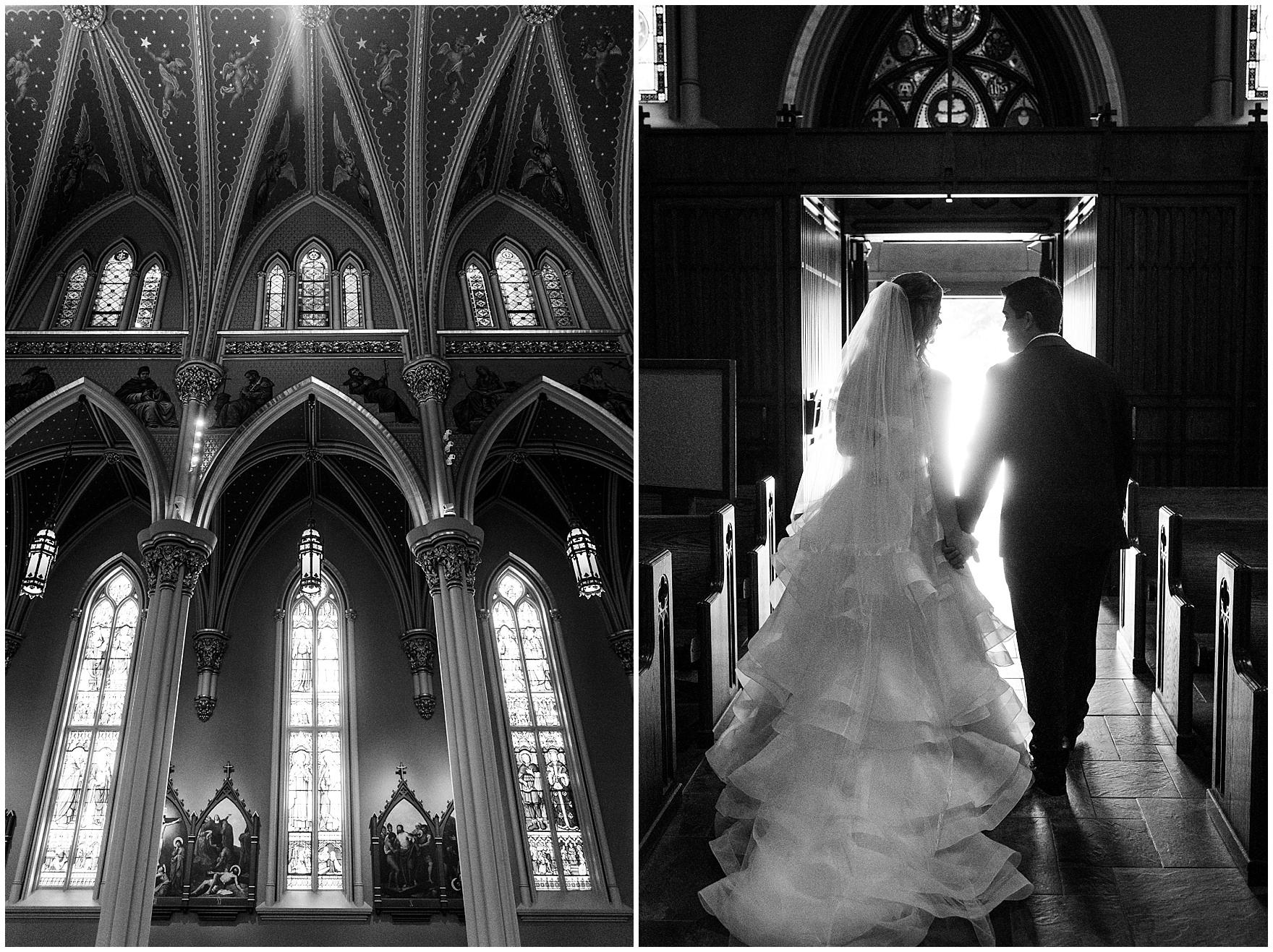 The bride and groom exit the Basilica of the Sacred Heart during a University of Notre Dame wedding.
