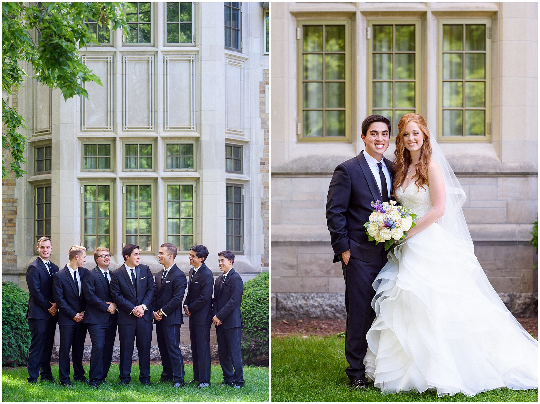 The groom and his groomsmen pose for portraits on campus during a University of Notre Dame wedding.
