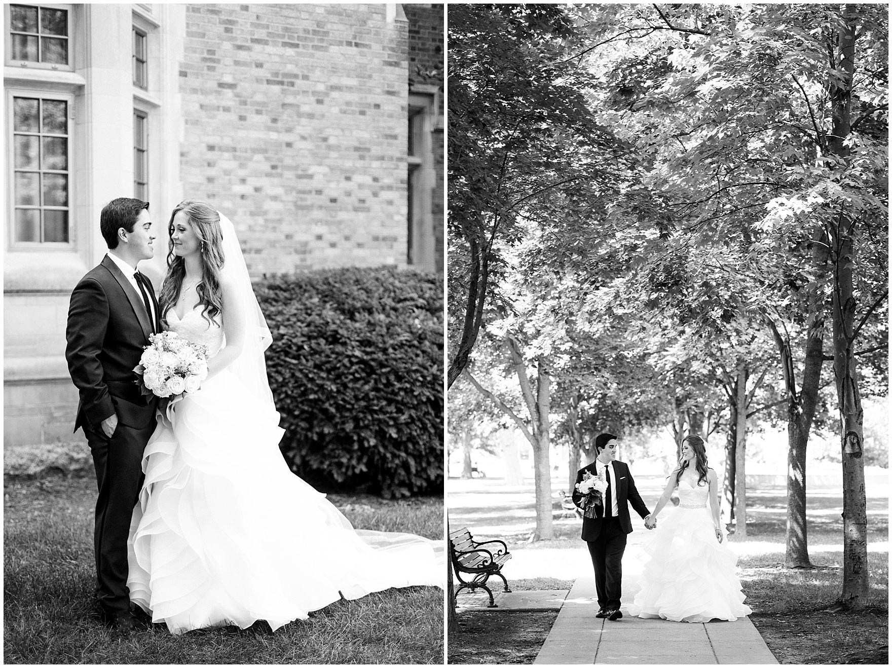 The bride and groom pose for portraits on campus during a University of Notre Dame wedding.