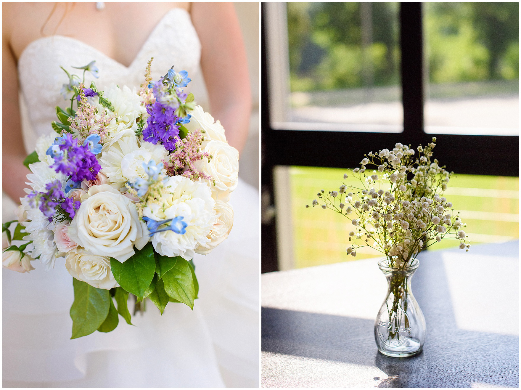 The bride's bouquet with white roses and purple and blue accents for a University of Notre Dame wedding.