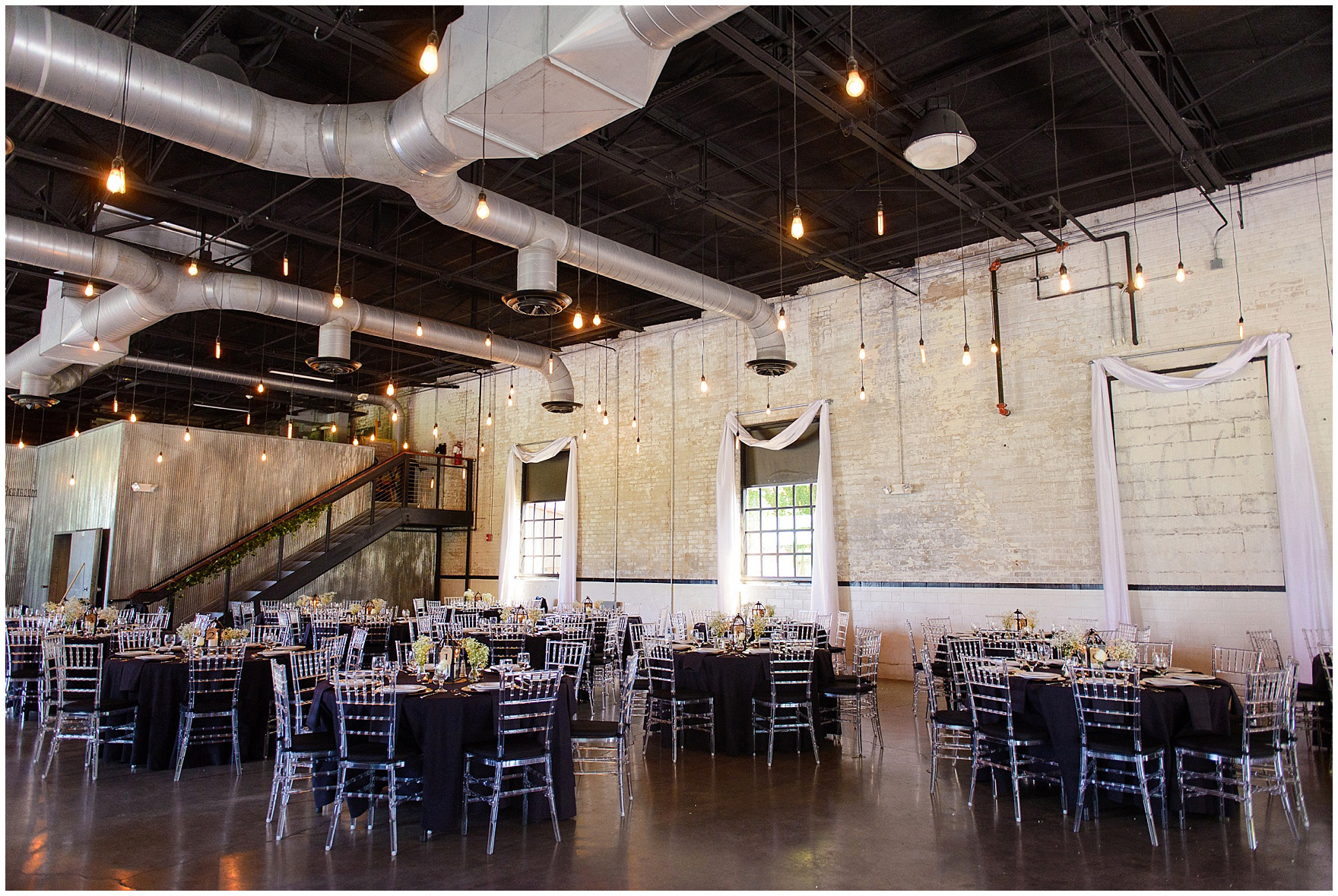 Interior of The Brick in South Bend, site of the reception for a University of Notre Dame wedding.