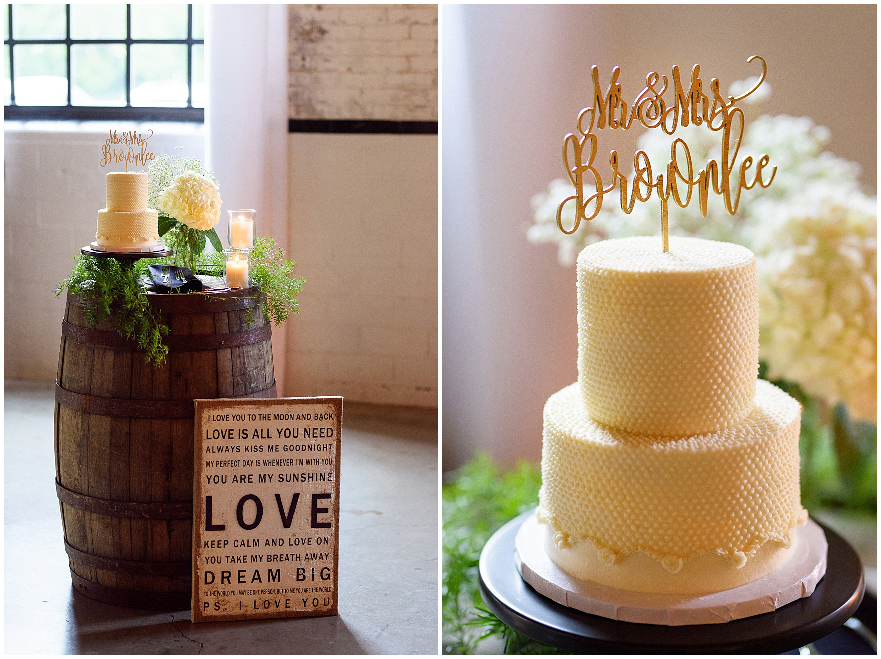 A cake by Magnolia Bakery with a personalized wedding topper at The Brick in South Bend, following a University of Notre Dame wedding.