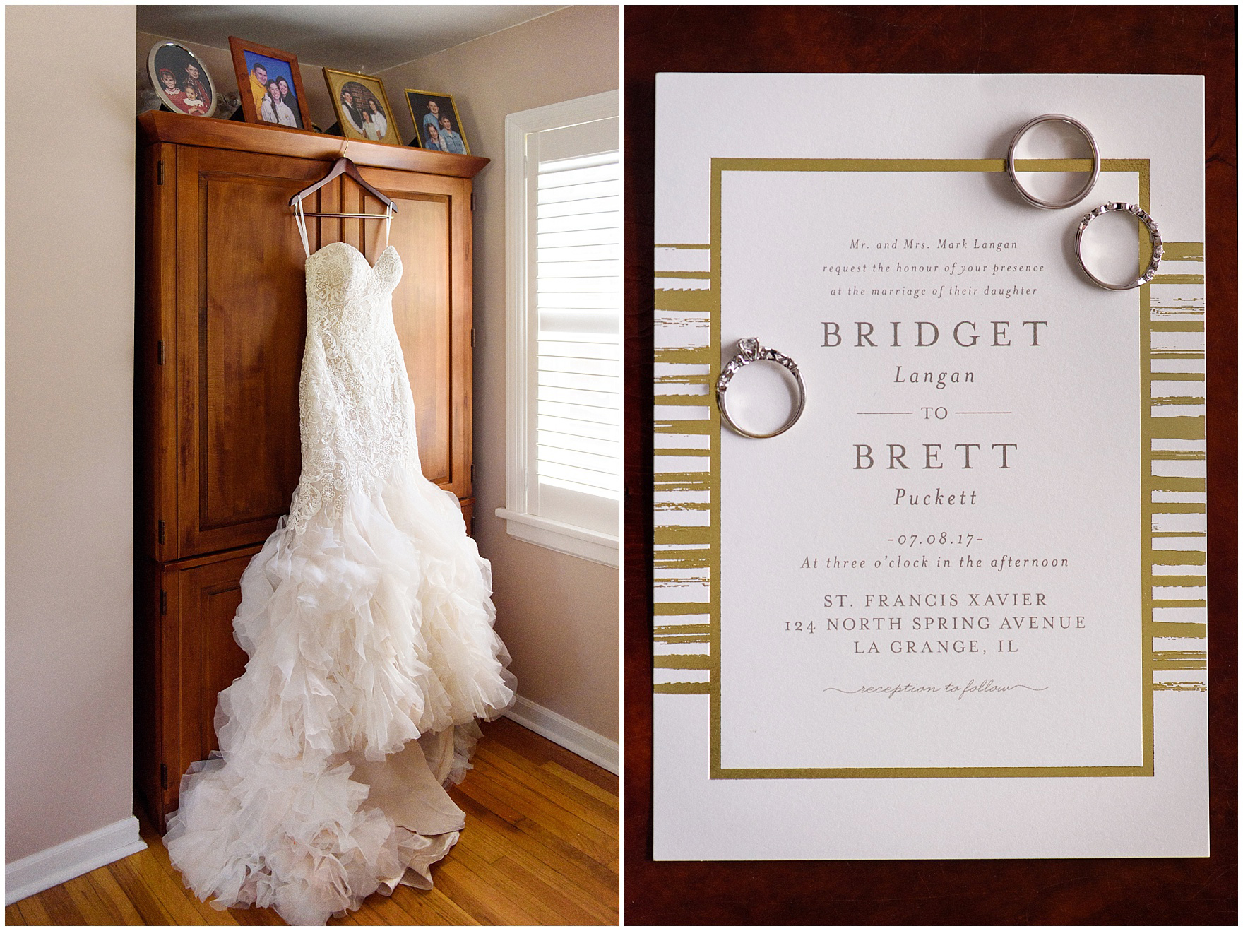 Details of a bridal gown and invitation as a bride gets ready for her St. Francis Xavier and Brookfield Zoo Chicago wedding.