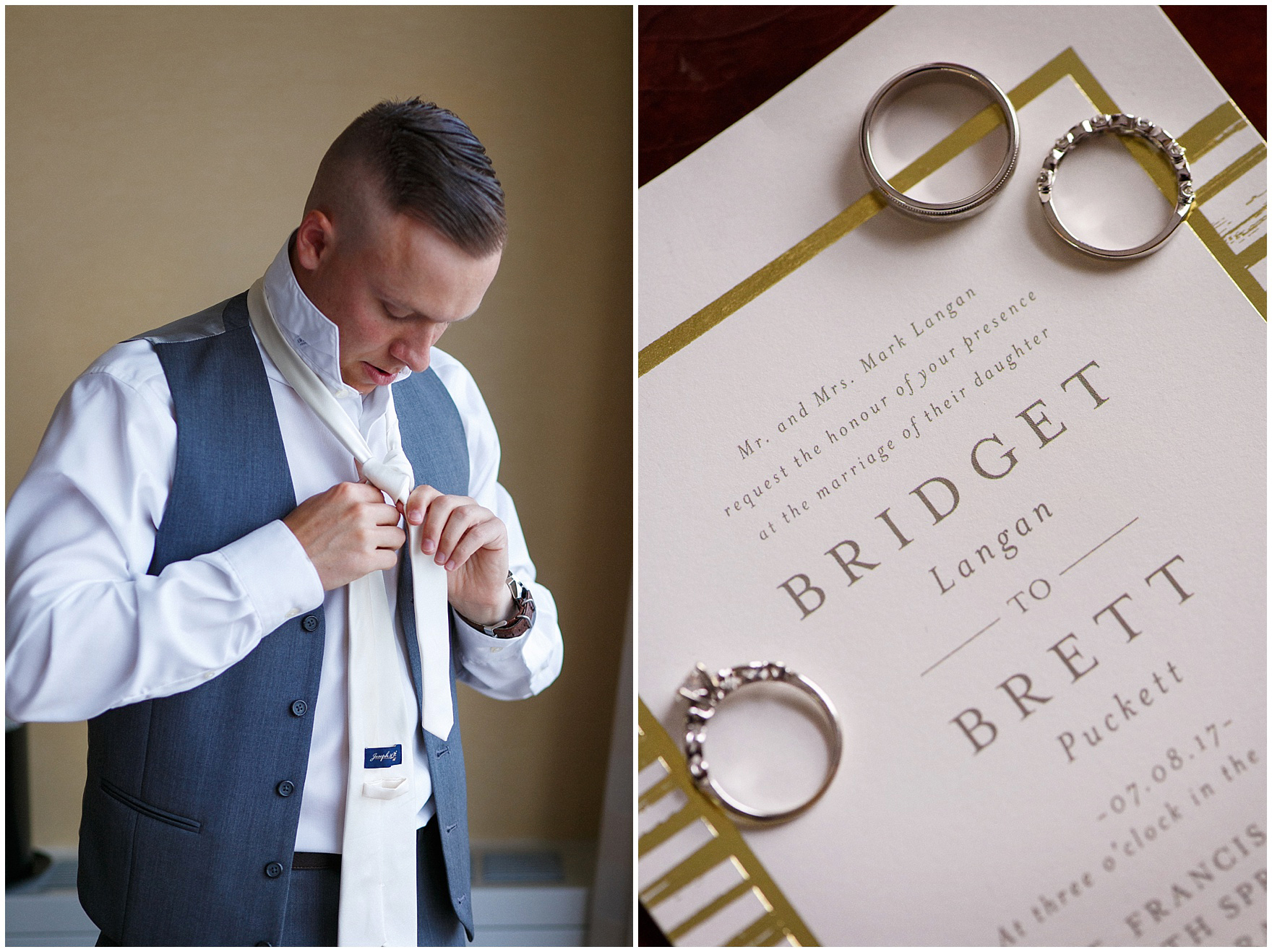 Details of a wedding invitation as a groom gets ready for his St. Francis Xavier and Brookfield Zoo Chicago wedding.