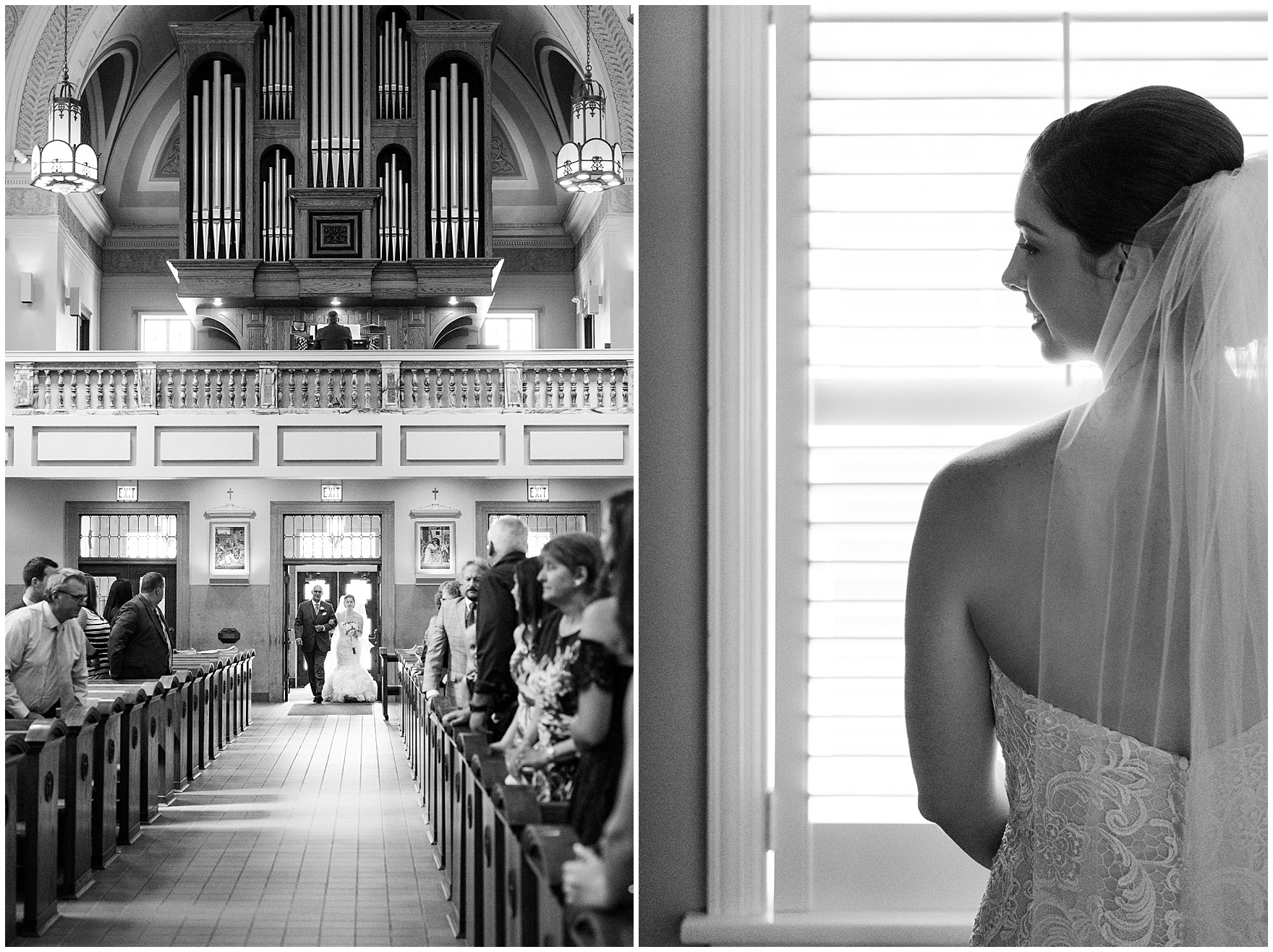 A bride walks down the aisle at a St. Francis Xavier and Brookfield Zoo Chicago wedding.