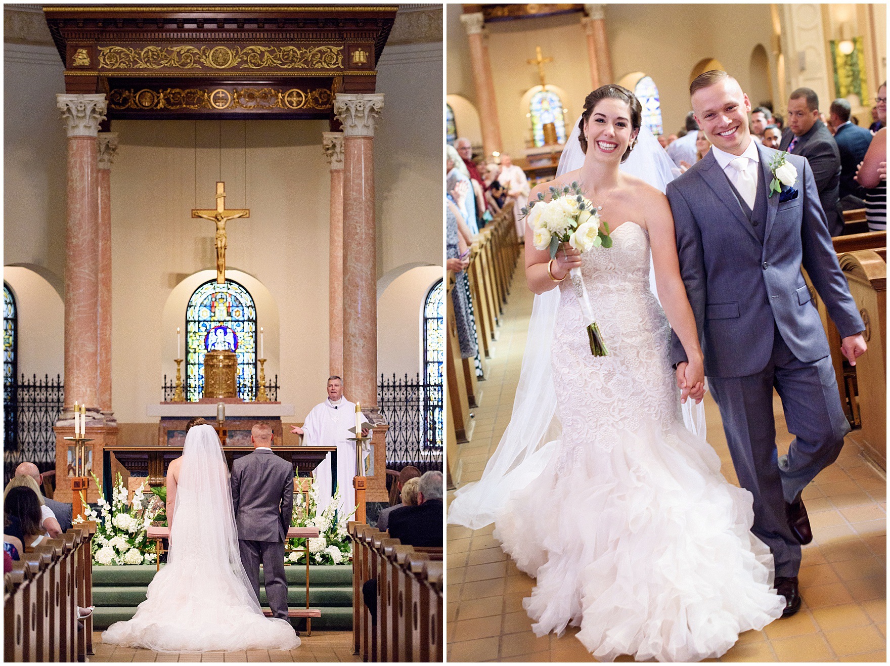 The bride and groom are joyous after tying the knot at their St. Francis Xavier and Brookfield Zoo Chicago wedding.