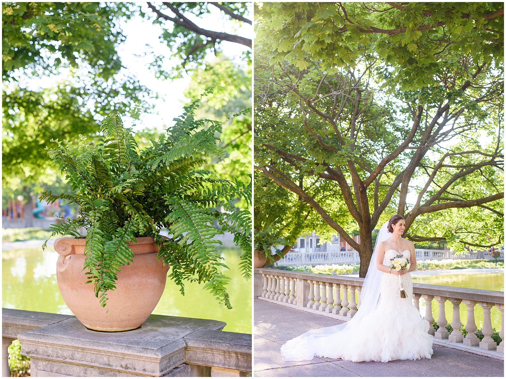 The bride and groom take portraits around the zoo at a St. Francis Xavier and Brookfield Zoo Chicago wedding.