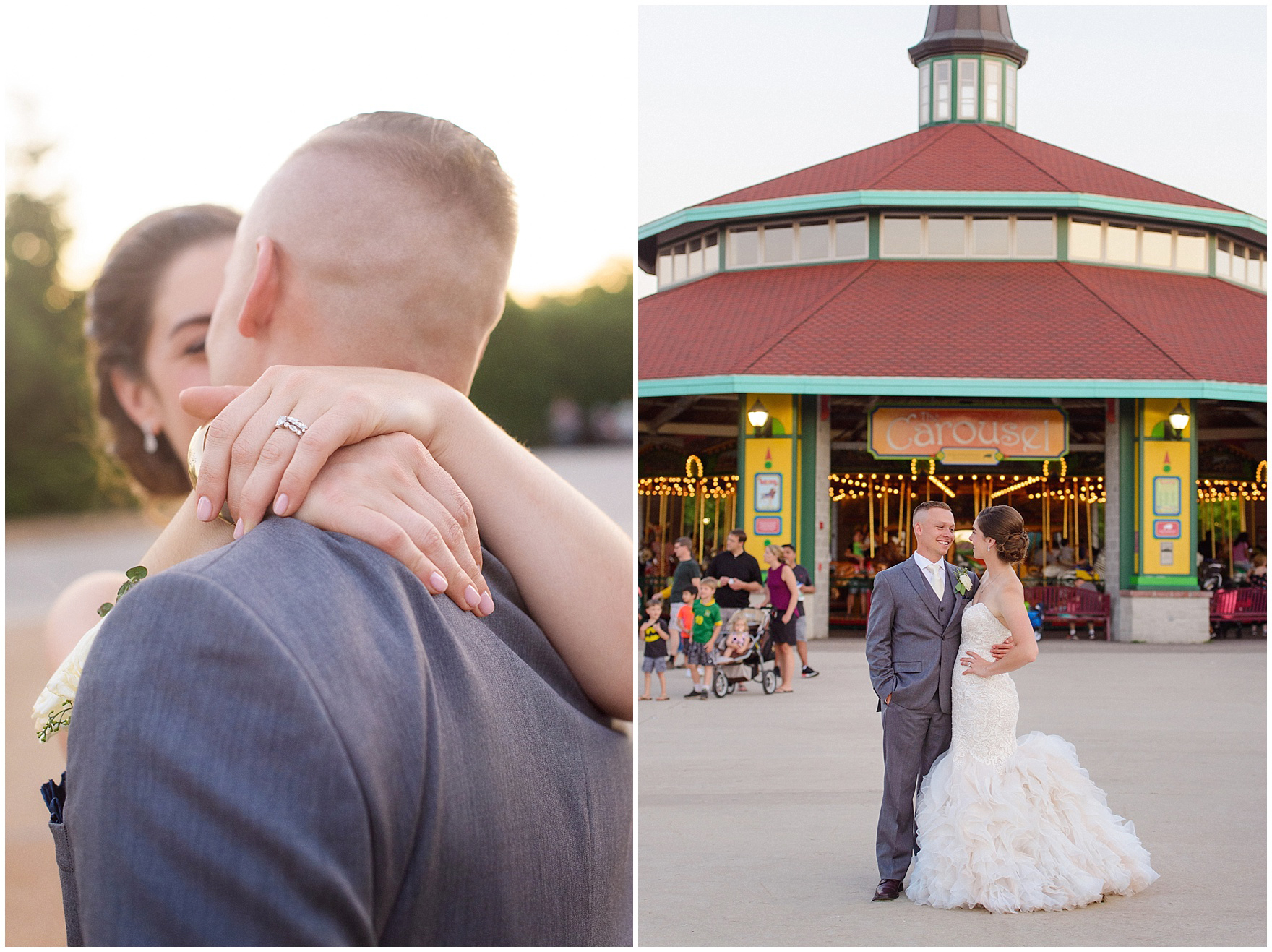 The bride and groom embrace at sunset in front of the carousel at a St. Francis Xavier and Brookfield Zoo Chicago wedding.