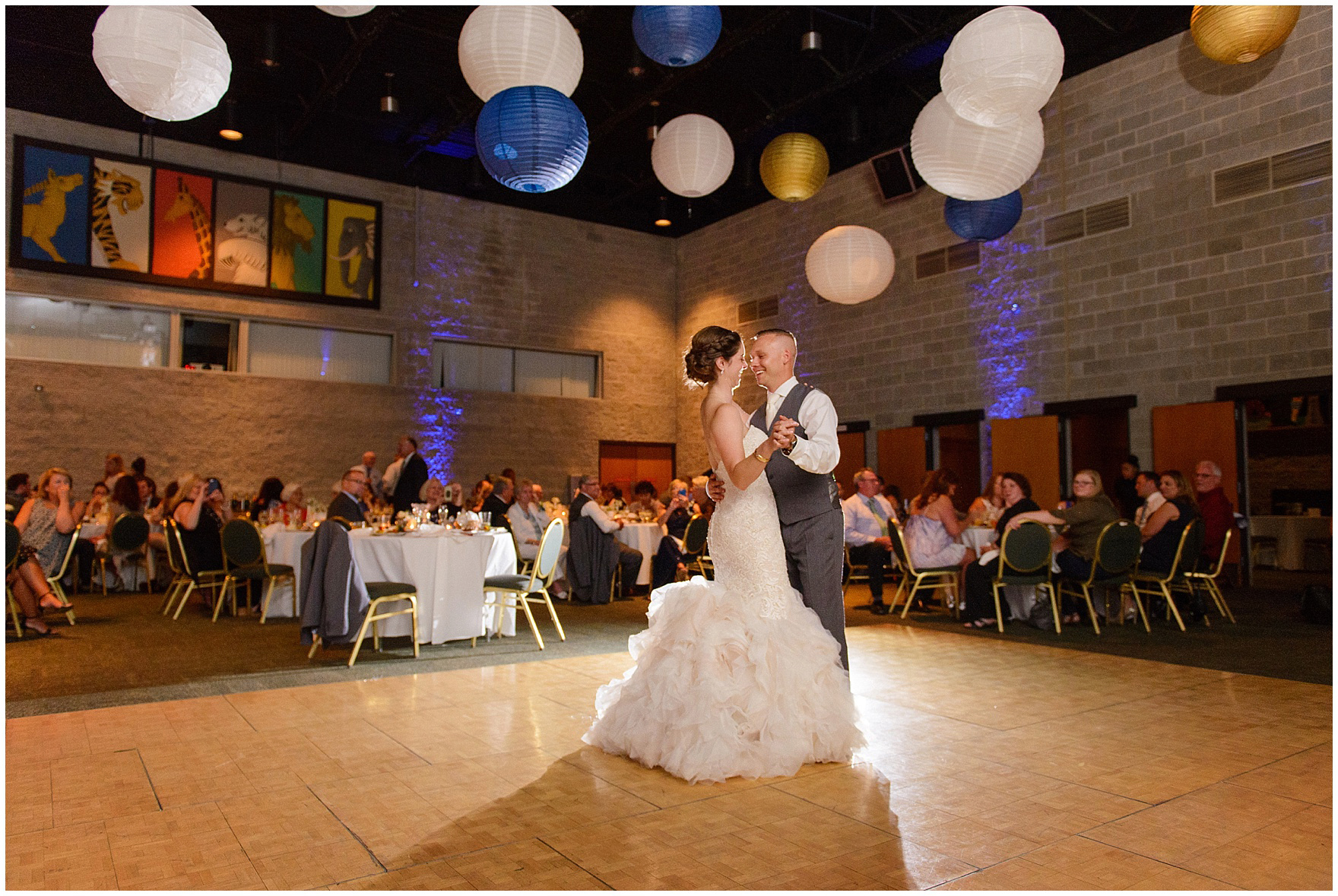 The reception at the Discovery Center at a St. Francis Xavier and Brookfield Zoo Chicago wedding.