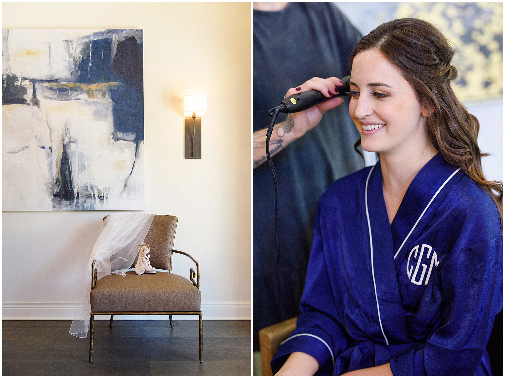 A bride wearing a monogrammed navy robe gets ready for her Butterfield Country Club wedding.
