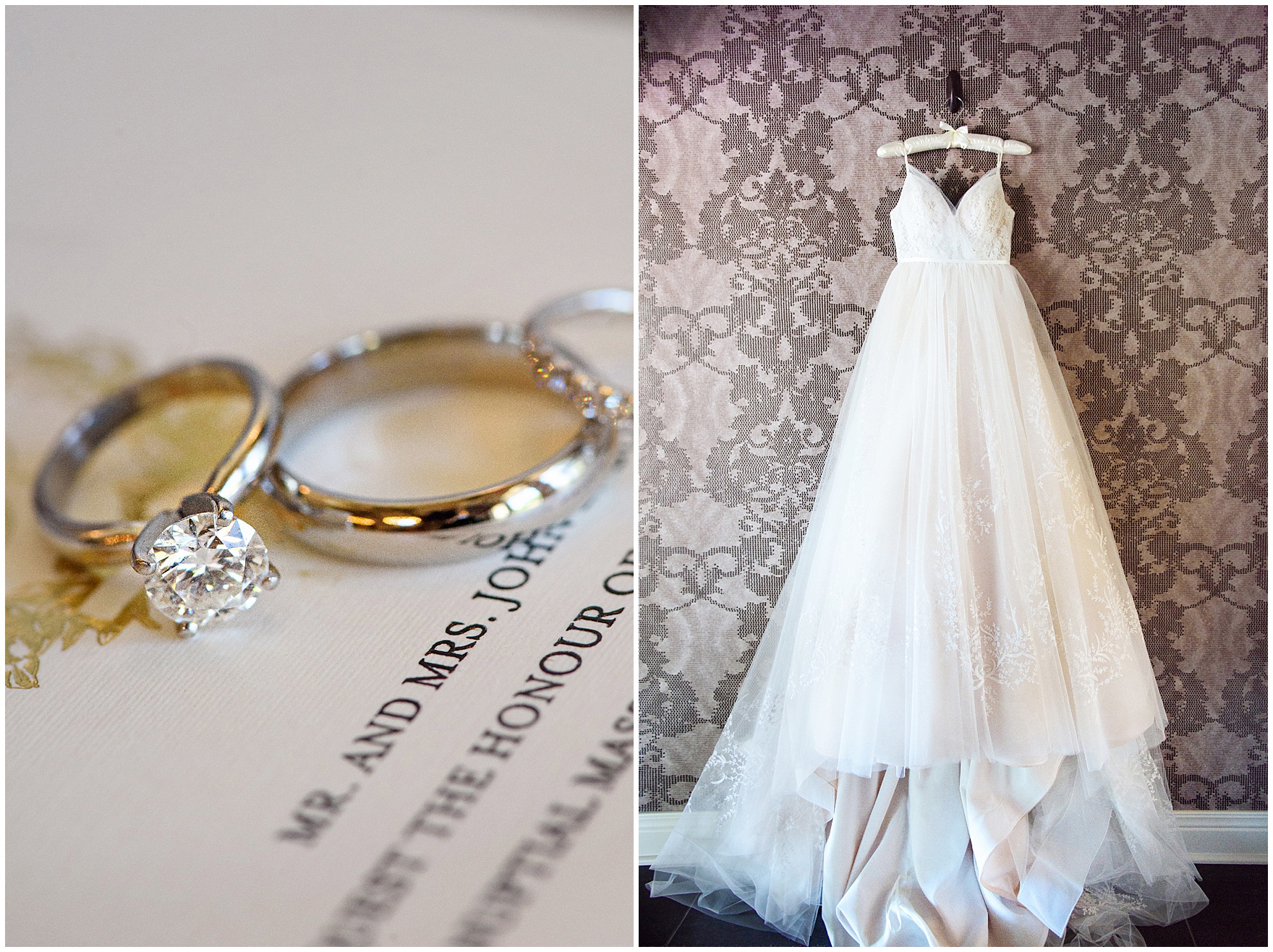 Detail shots of a diamond engagement ring and a lace covered wedding dress for a Butterfield Country Club wedding.