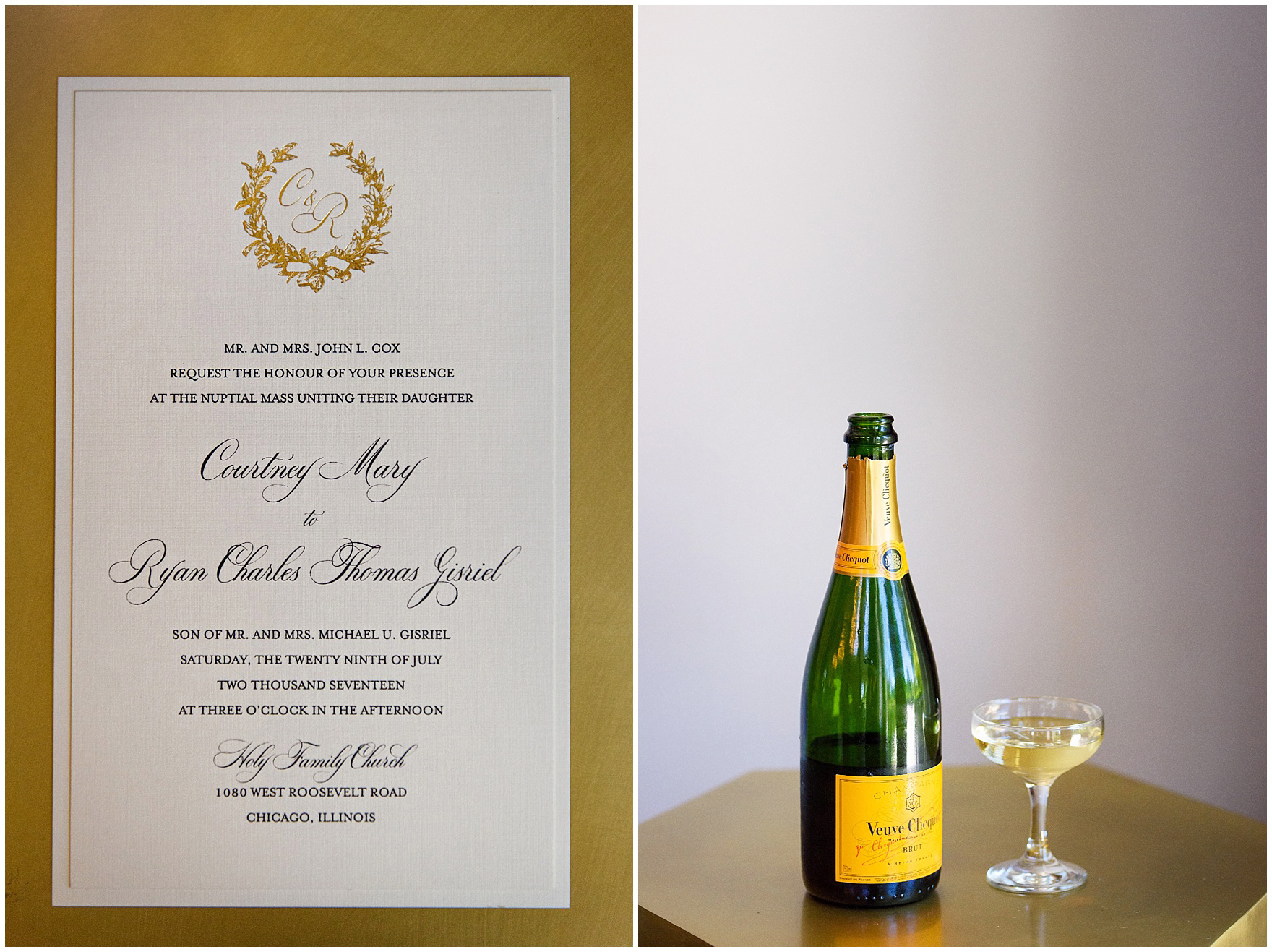 A gold foil monogram accents an elegant invitation for a Butterfield Country Club wedding.