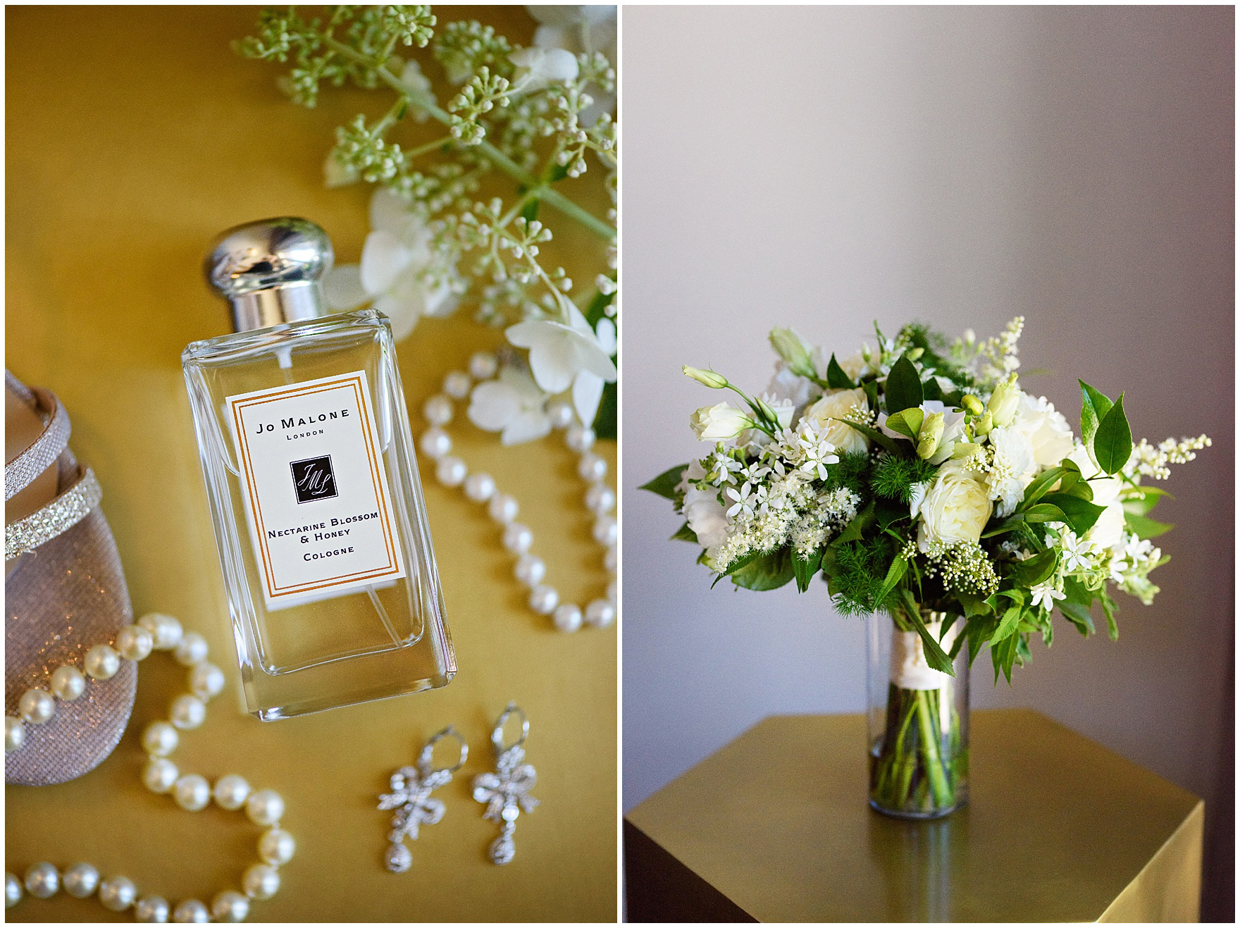 Details of the brides pearl accessories, Jo Malone perfume, and Flowers for Dreams bridal bouquet for a Butterfield Country Club wedding.
