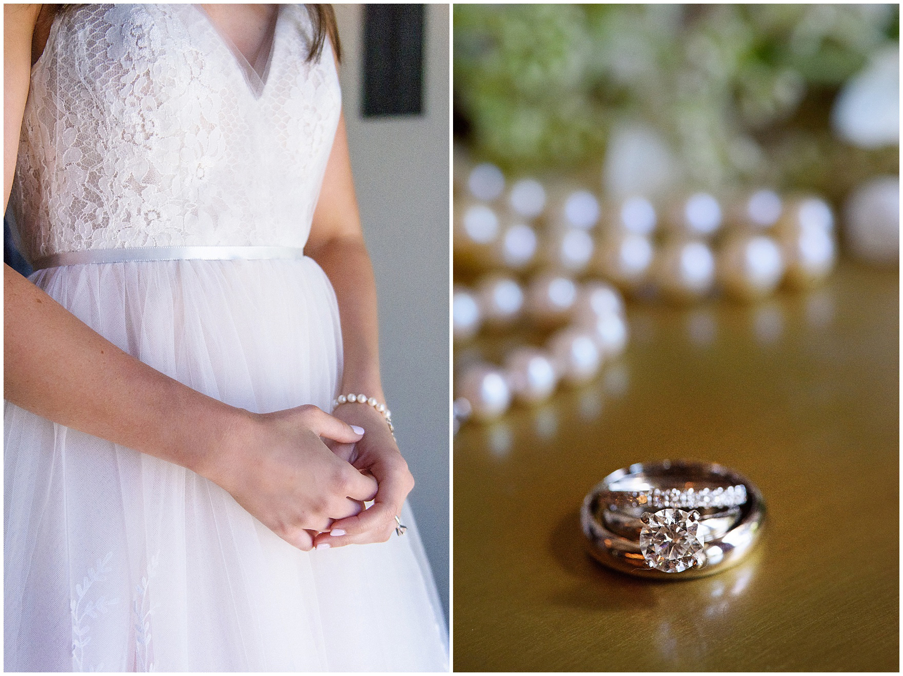 Detail of the brides pearl jewelry and engagement ring and wedding bands for a Butterfield Country Club wedding.