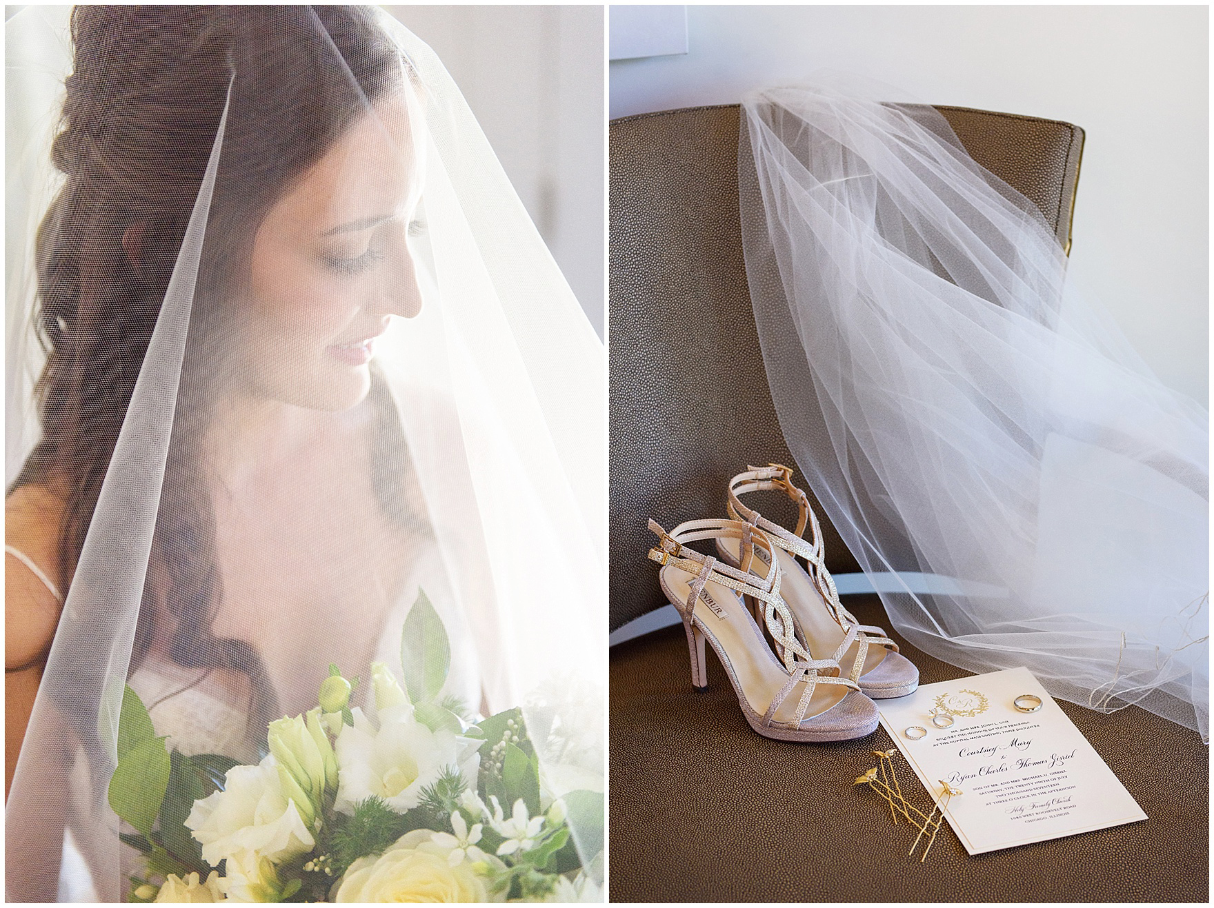 A portrait of a bride under her veil for a Butterfield Country Club wedding.