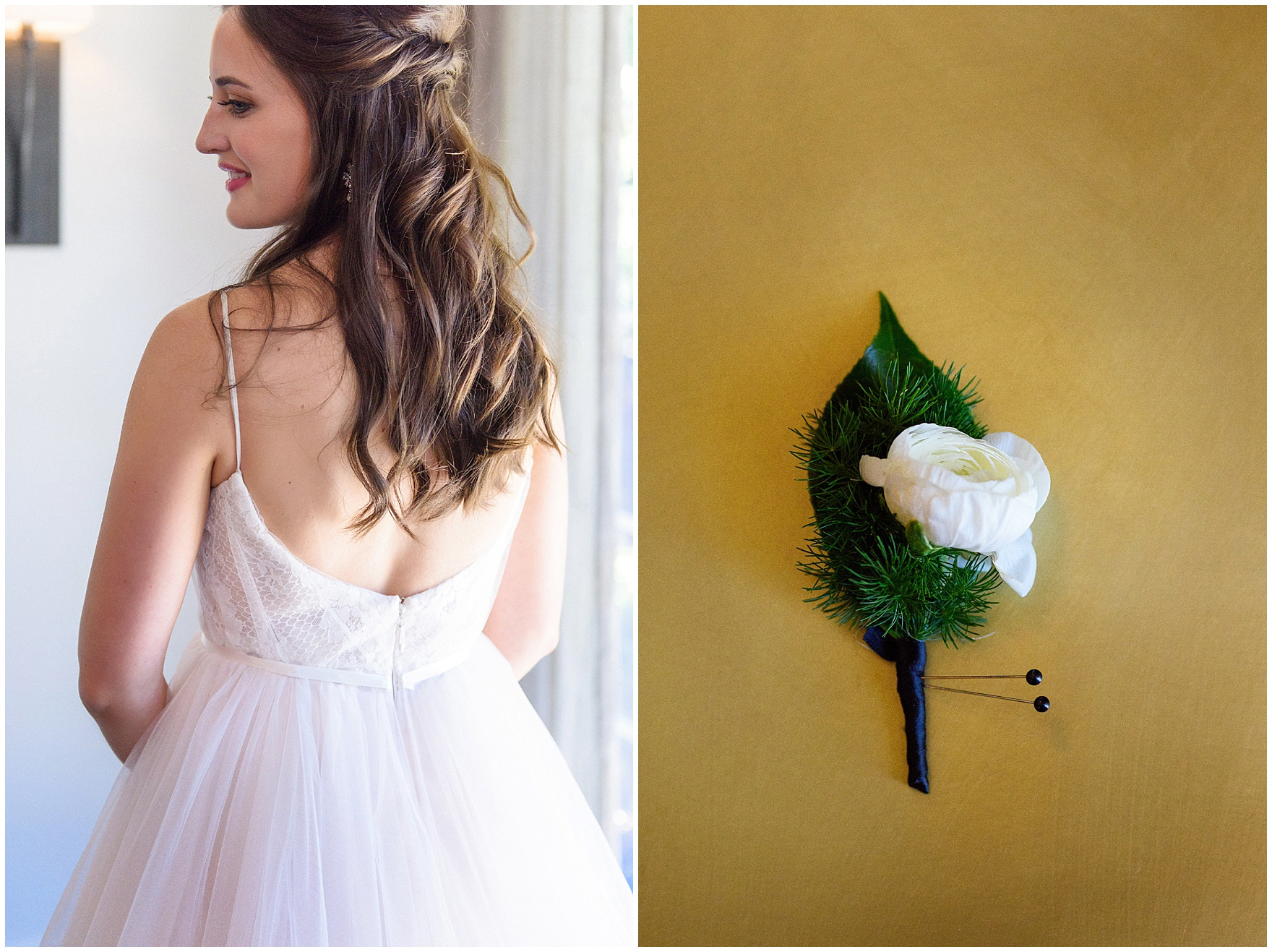 Details of the back of the bride's dress and the boutonniere by Flowers for Dreams for a Butterfield Country Club wedding.