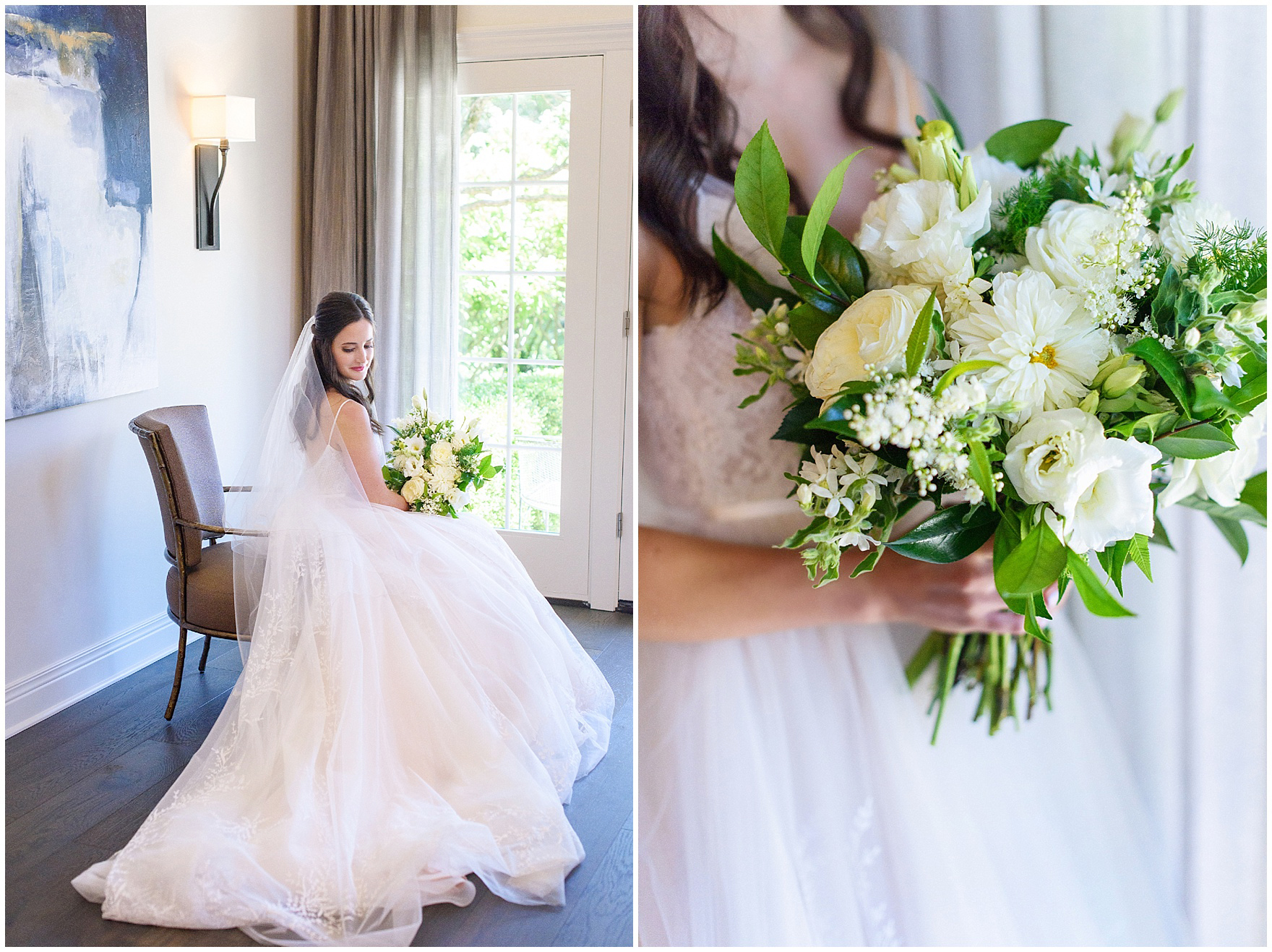 Bridal portraits featuring a bouquet by Flowers for Dreams for a Butterfield Country Club wedding.
