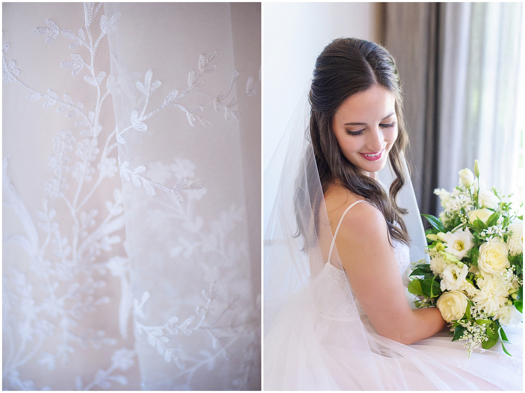 Bridal portraits and details of the bride's dress for a Butterfield Country Club wedding.