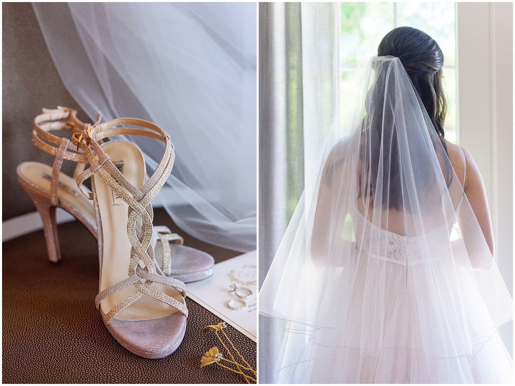 Details of the bride's veil and shoes for a Butterfield Country Club wedding.