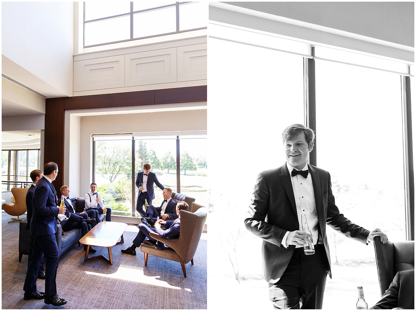 The groom and his groomsmen get ready for a Butterfield Country Club wedding.