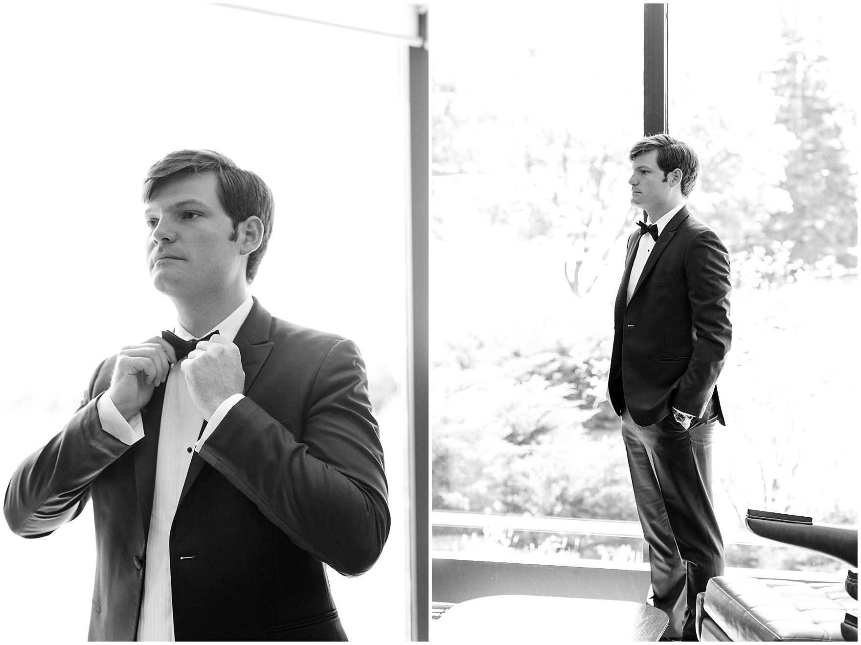 The groom gets ready for a Butterfield Country Club wedding.