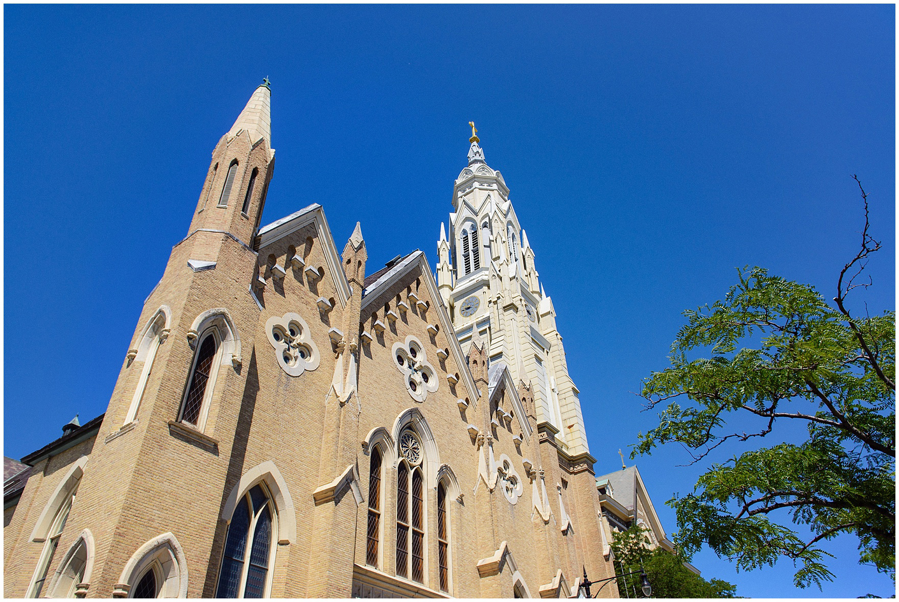 The exterior of Chicago's historic Holy Family Church, site of the ceremony for a Butterfield Country Club wedding.