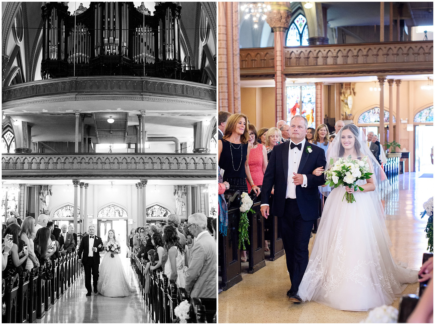 A bride and her father walk down the aisle of Chicago's historic Holy Family Church, site of the ceremony for a Butterfield Country Club wedding.