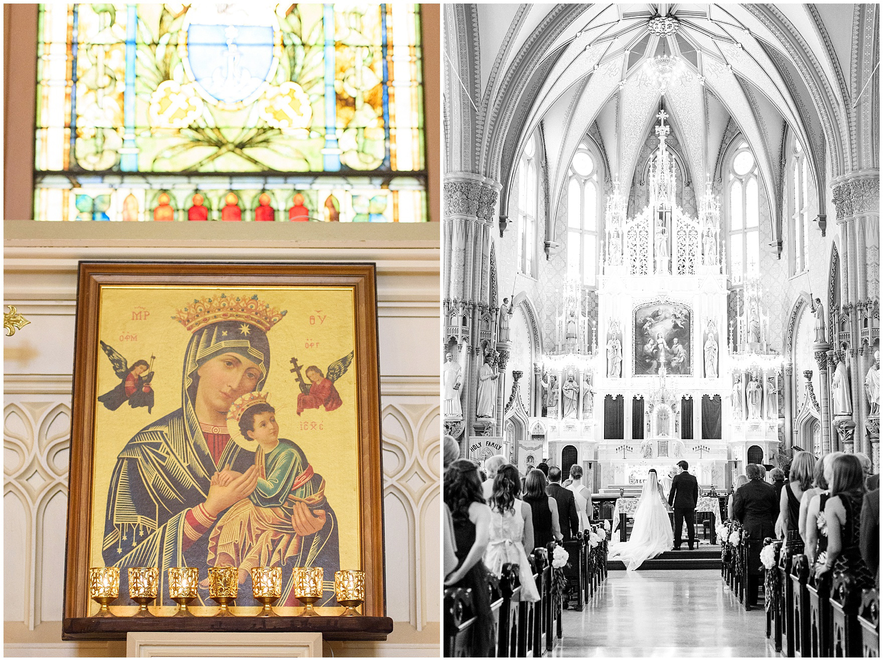 Details of the beautiful interior of Chicago's historic Holy Family Church, site of the ceremony for a Butterfield Country Club wedding.