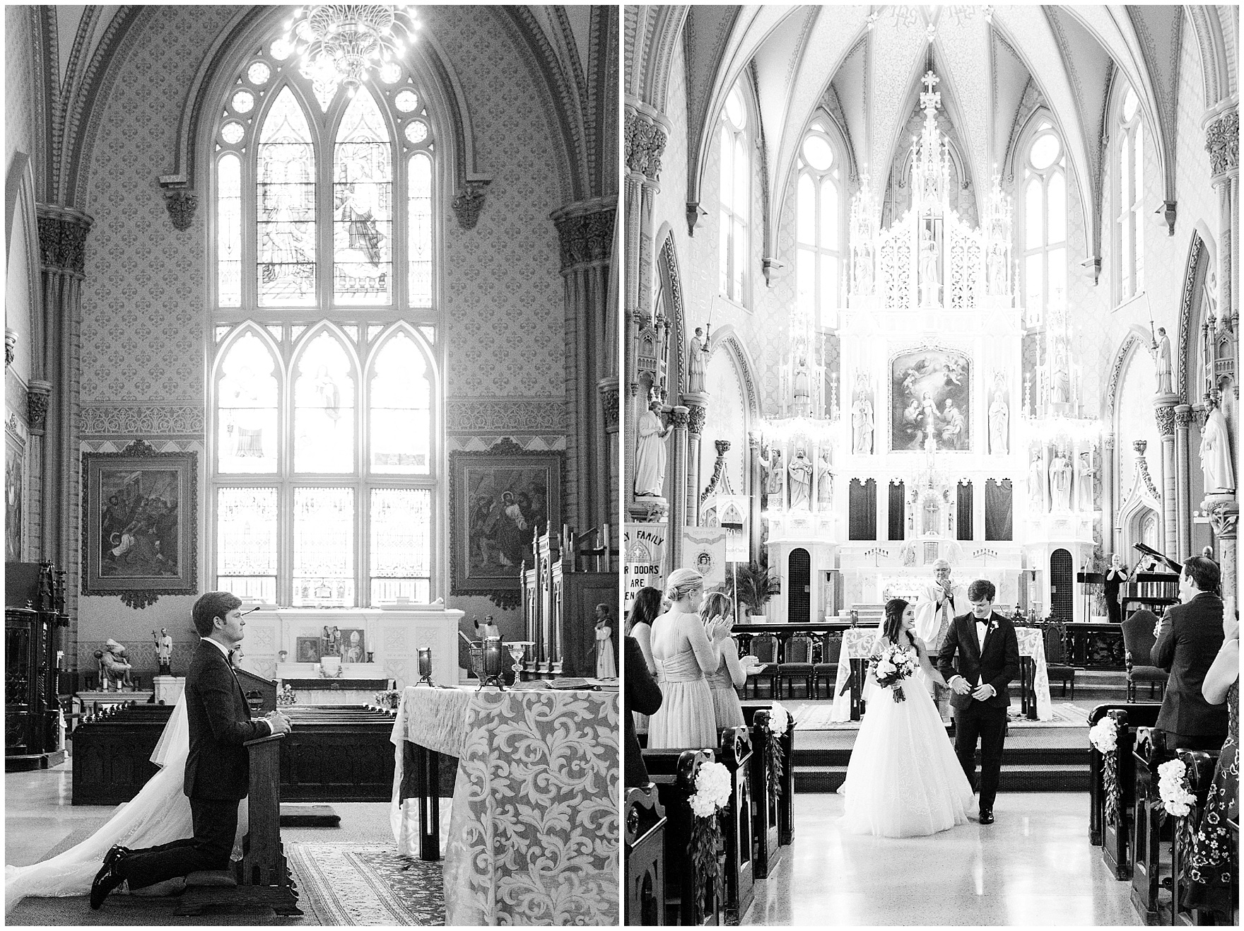 The newly married couple exits Chicago's historic Holy Family Church, site of the ceremony for a Butterfield Country Club wedding.