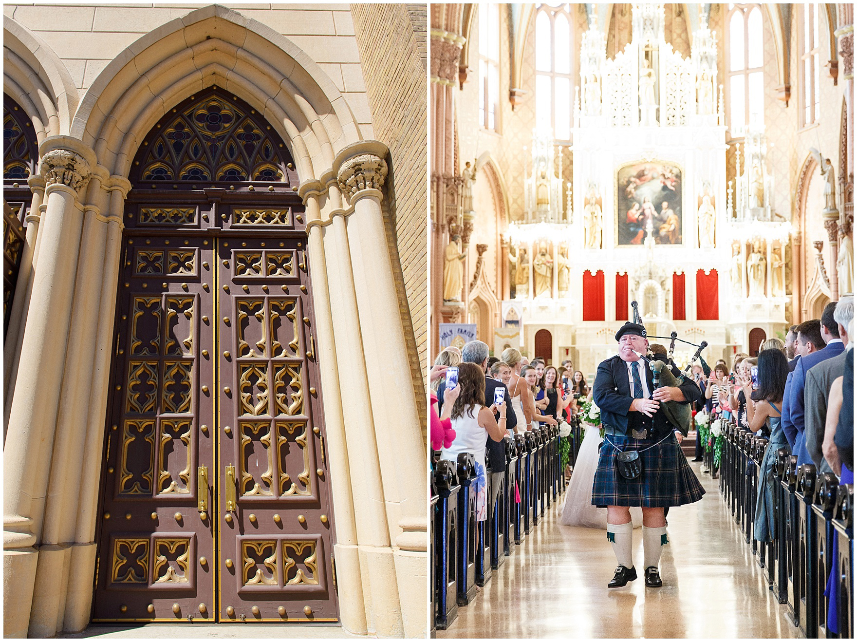 A bagpiper leads the recessional at Chicago's historic Holy Family Church, site of the ceremony for a Butterfield Country Club wedding.