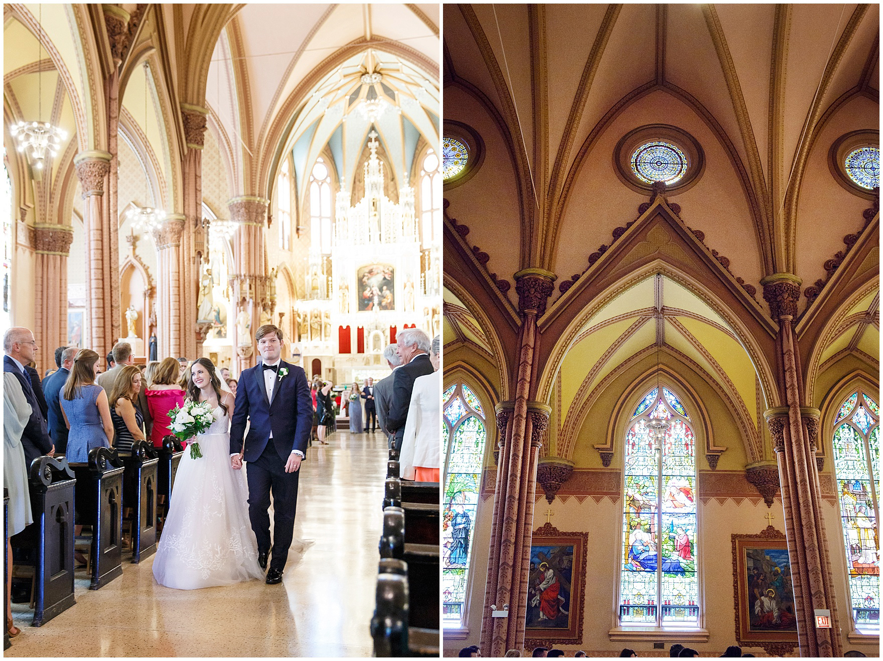 The bride and groom smile during the recessional at Chicago's historic Holy Family Church, site of the ceremony for a Butterfield Country Club wedding.