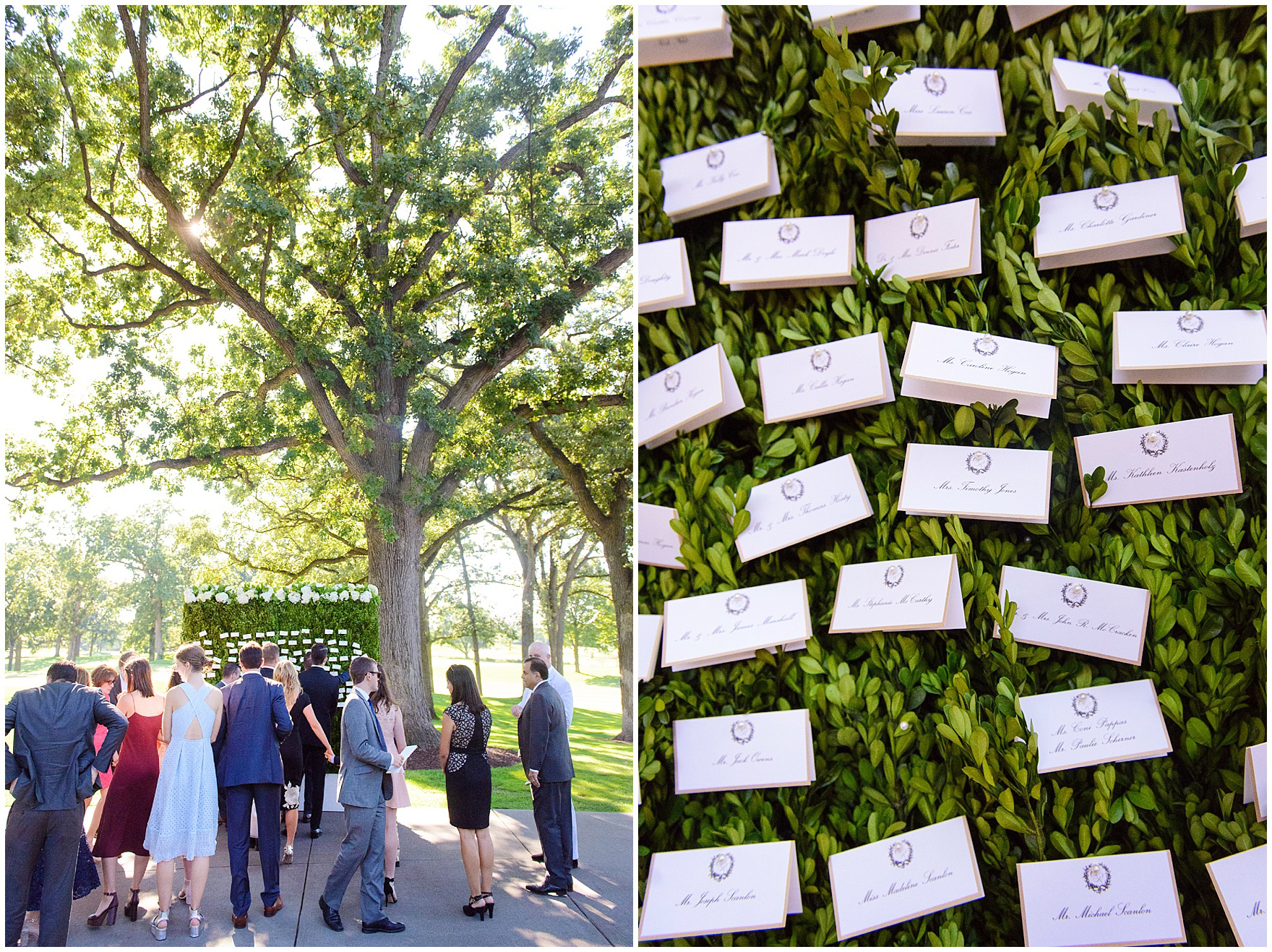 Guests pick up their escort cards from a boxwood display  during a Butterfield Country Club wedding.