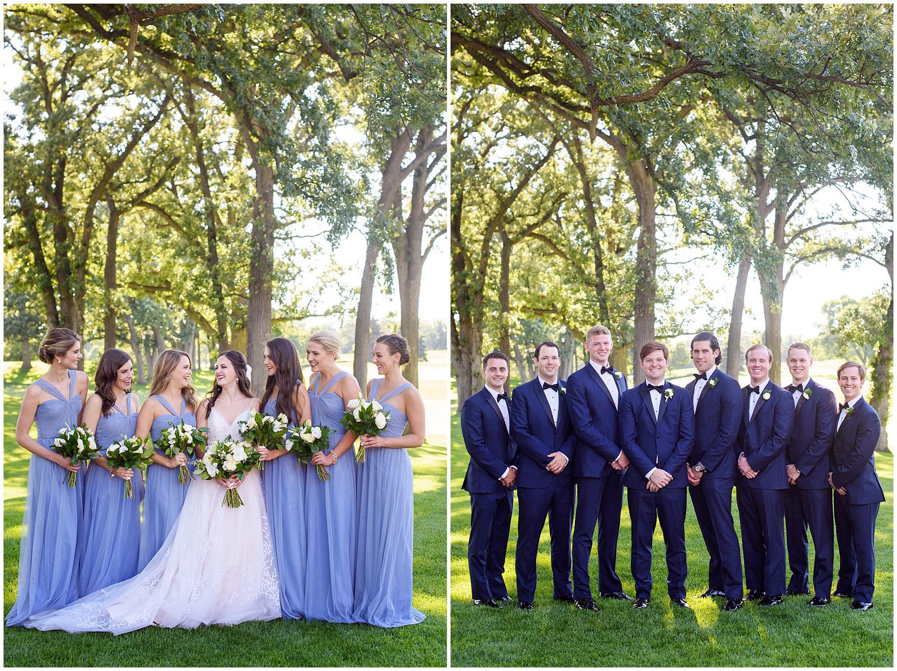 Portraits of the bridal party during a Butterfield Country Club wedding.