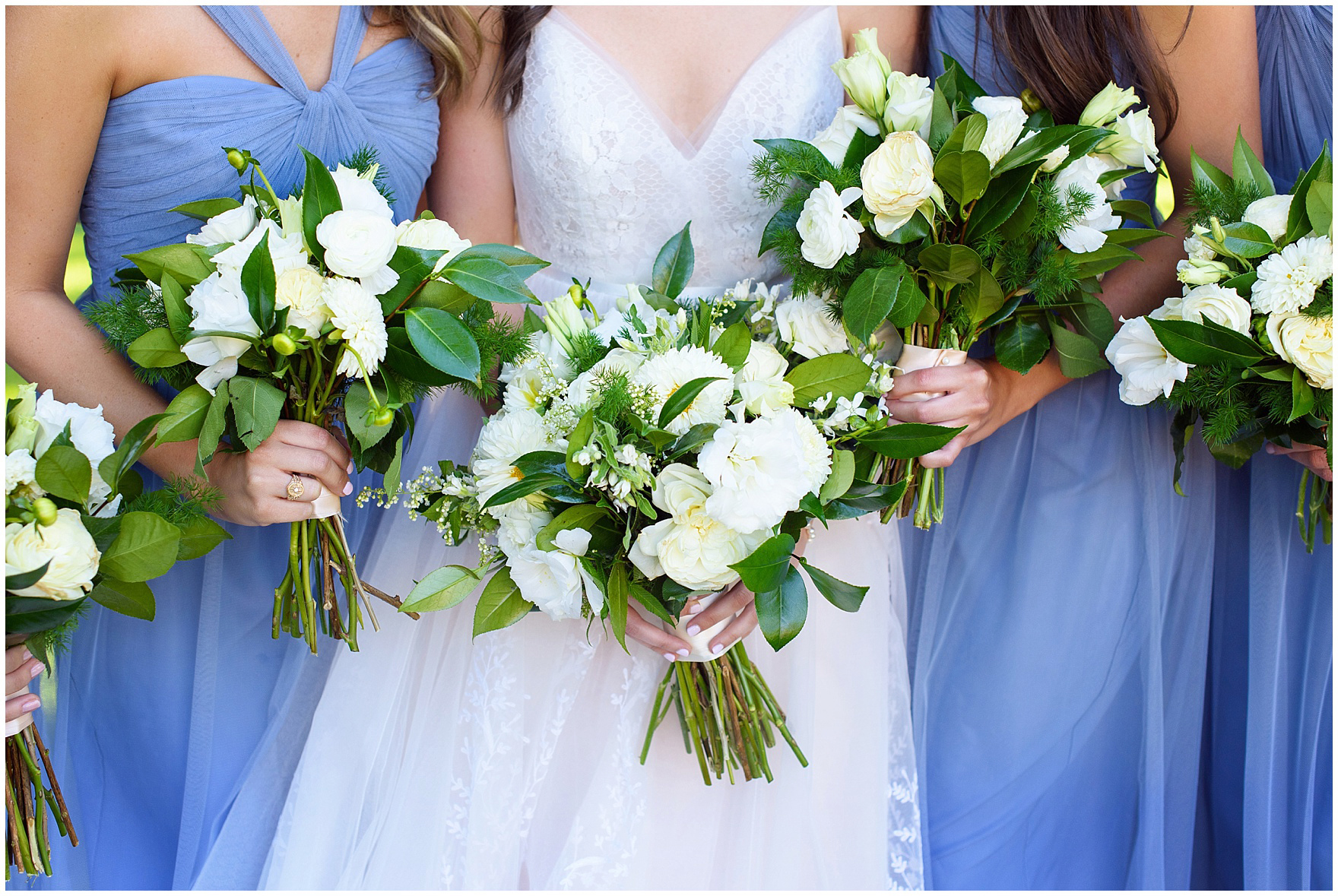 Details of green and ivory bouquets by Flowers for Dreams during a Butterfield Country Club wedding.