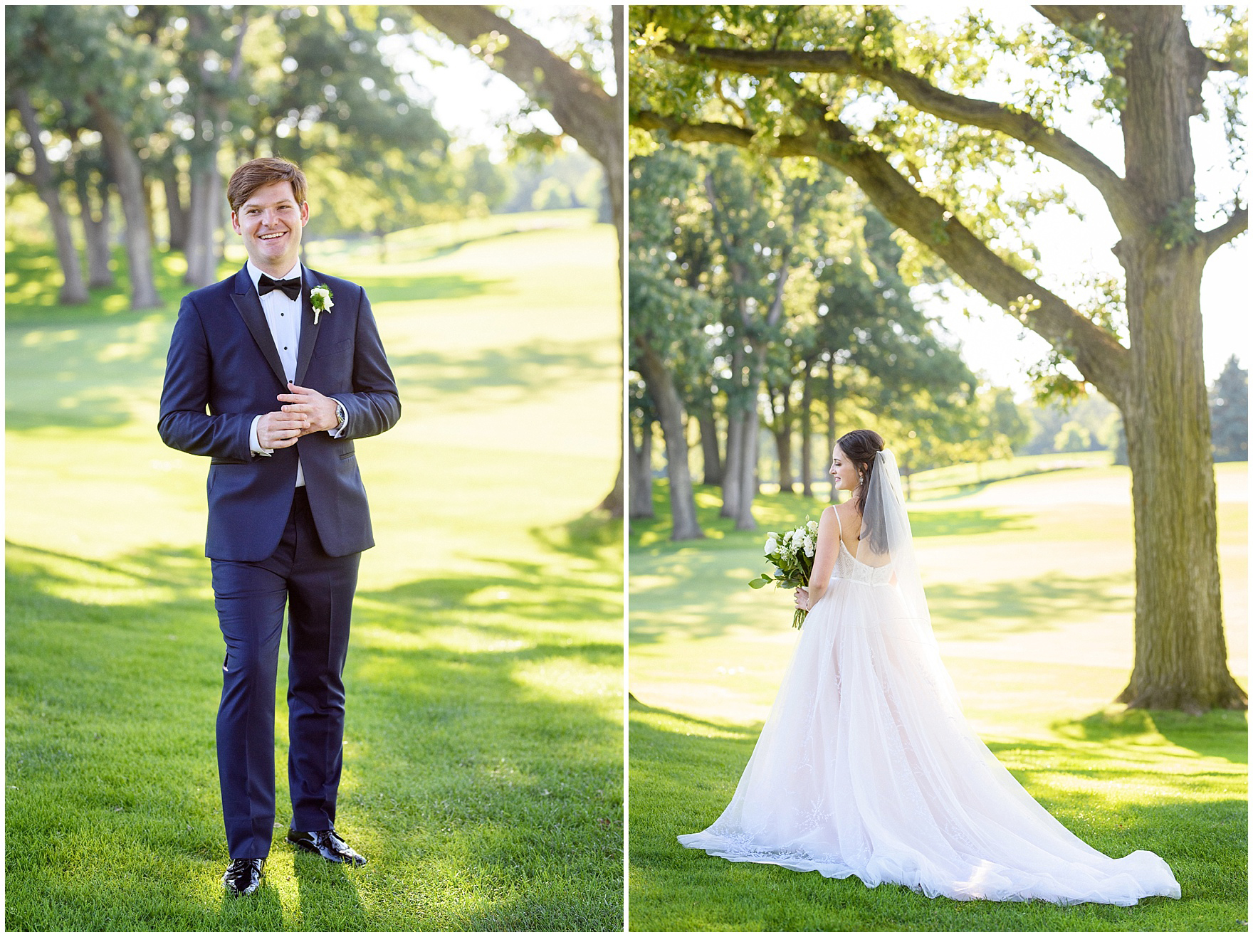 Portraits of the bride and groom during a Butterfield Country Club wedding.
