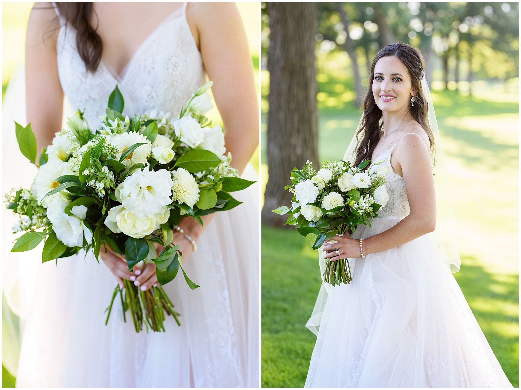 Portrait of a bride holding an ivory and green bouquet by Flowers for Dreams during a Butterfield Country Club wedding.