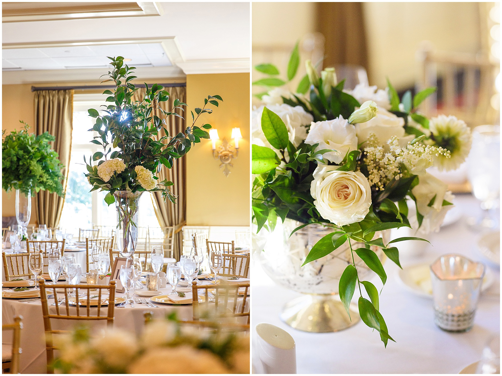 Ivory and green centerpieces by Flowers for Dreams during a Butterfield Country Club wedding.