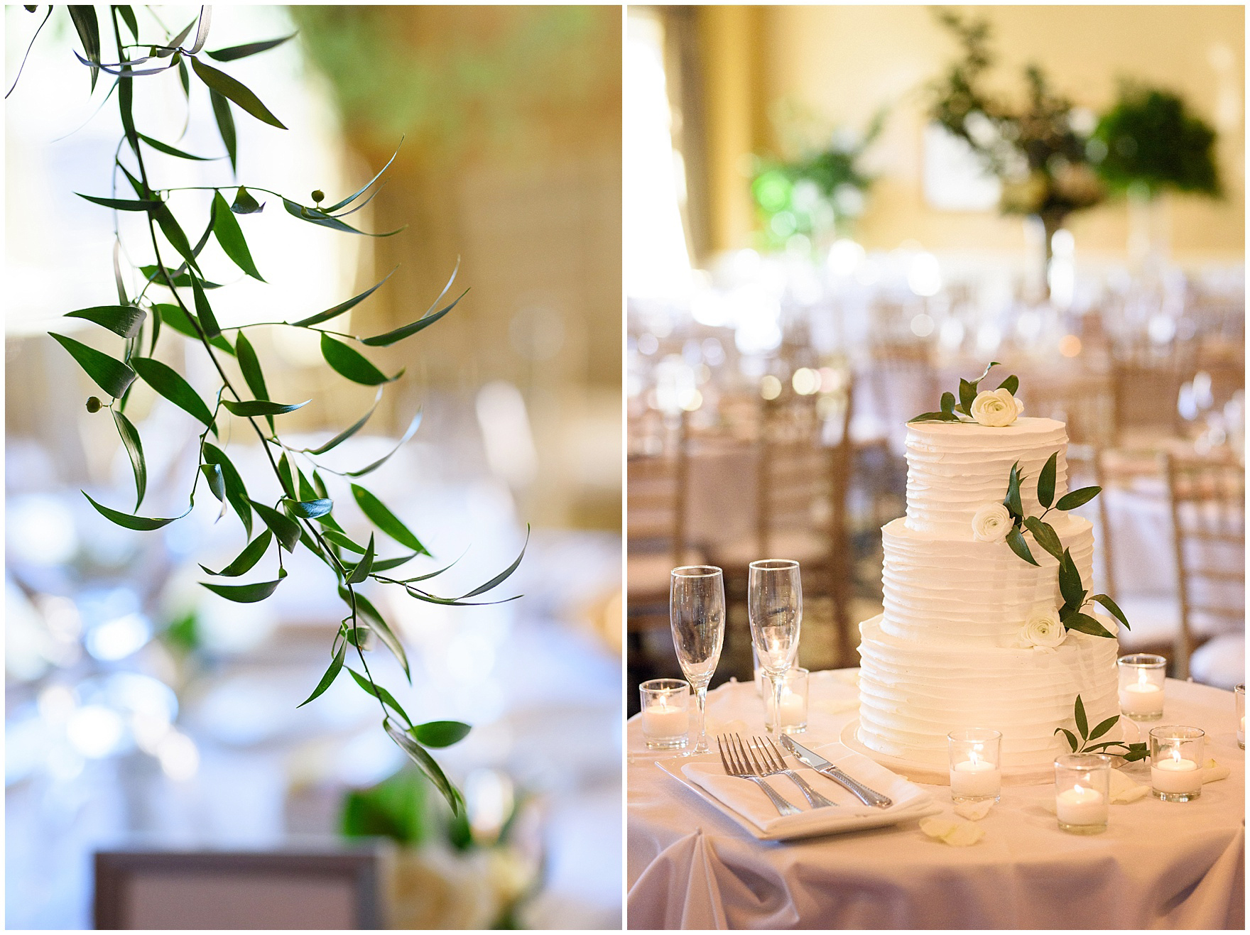 A cake by Toni Patisserie is adorned with flowers and greenery during a Butterfield Country Club wedding.